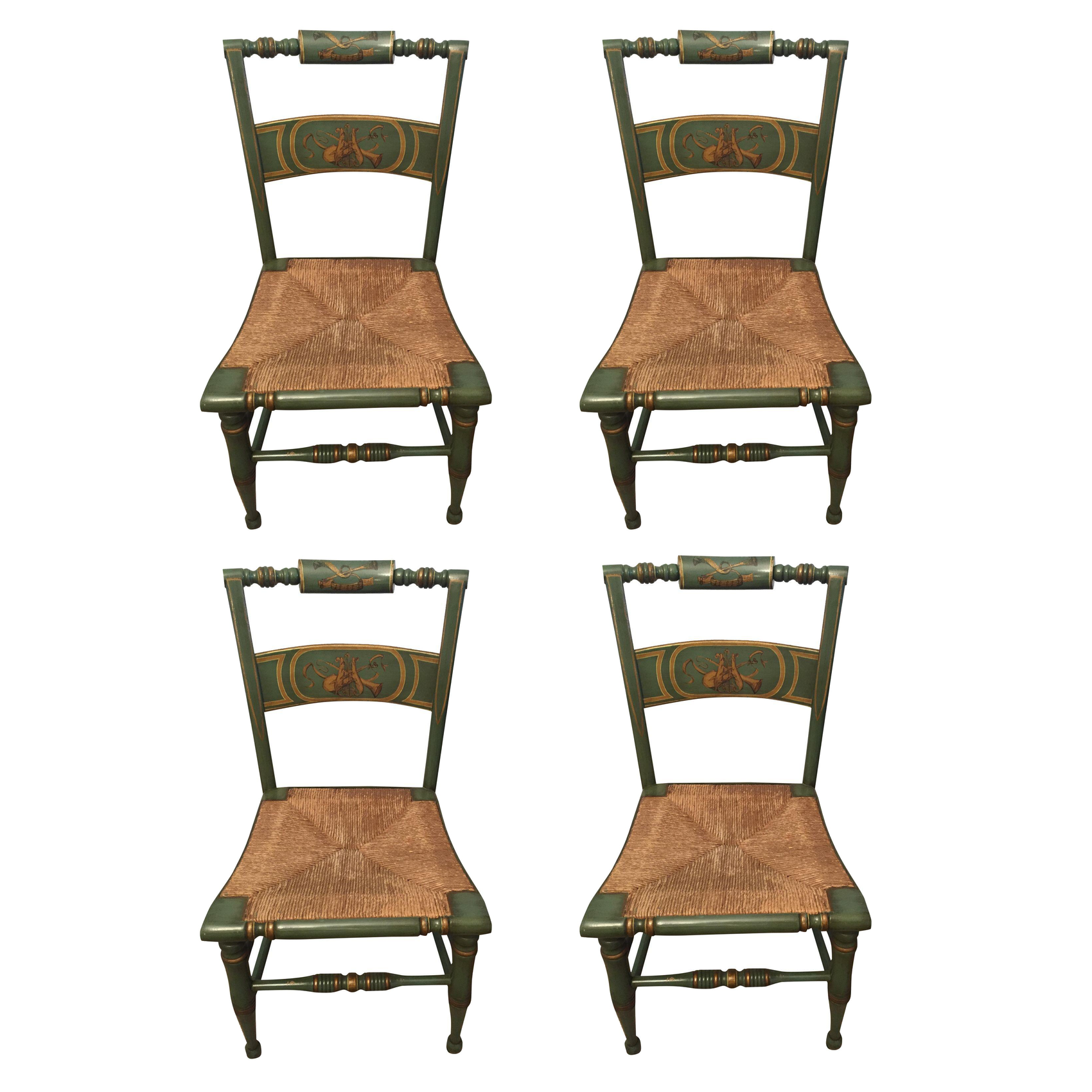 Hitchcock Style Painted Rush Seat Chairs Set Of 4 Chairish