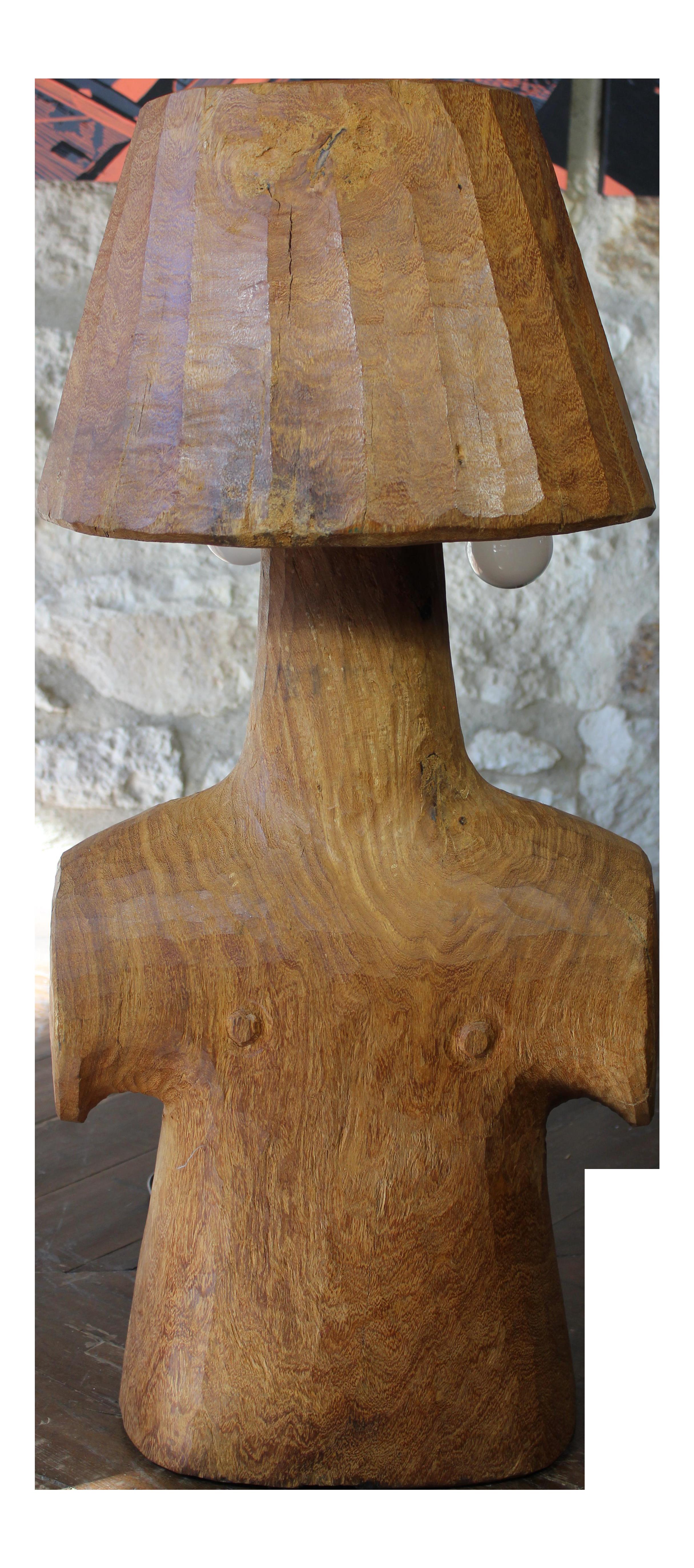 Vintage Short Wooden Torso Form Table Lamp