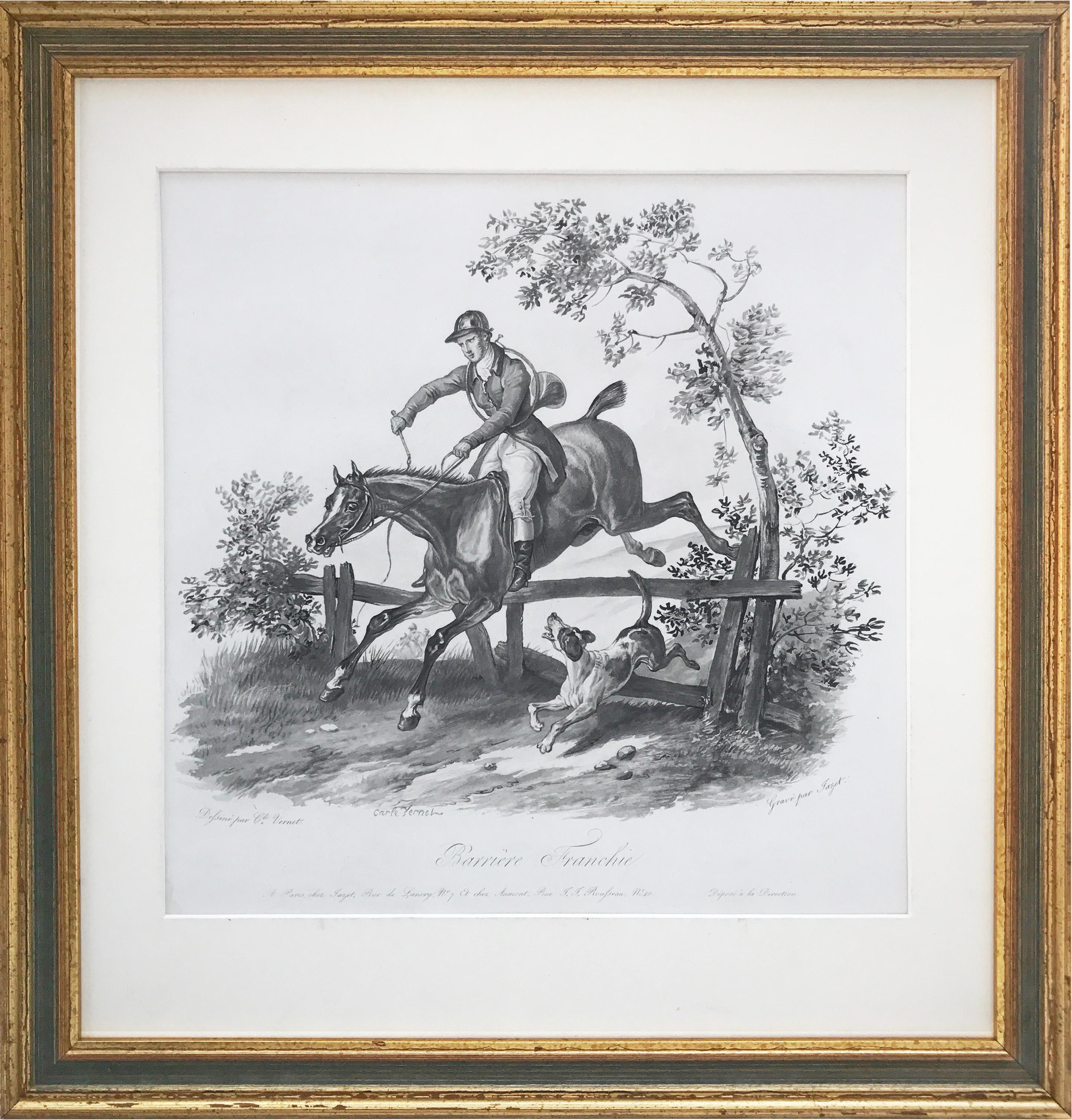 French equestrian hunt scene lithograph by carle vernet chairish jeuxipadfo Gallery