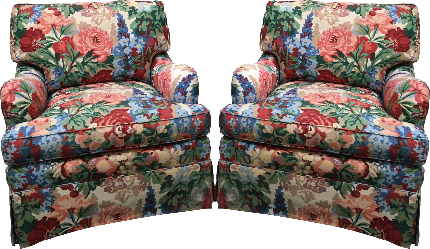 Pair Of Henredon Floral Club Chairs In The Style Of Dorothy Draper |  Chairish