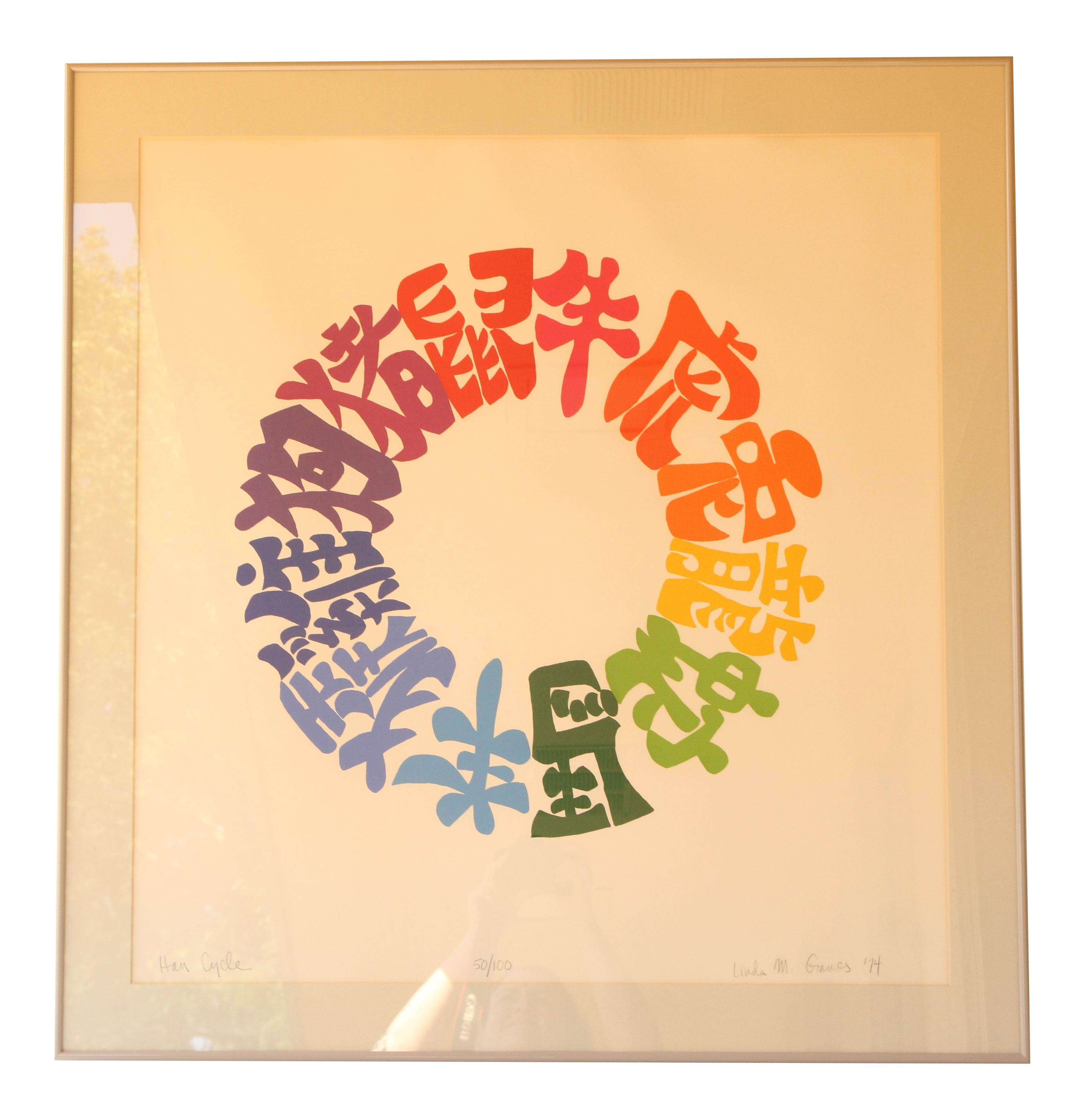 Vintage Chinese Calligraphy Silkscreen Print | Chairish