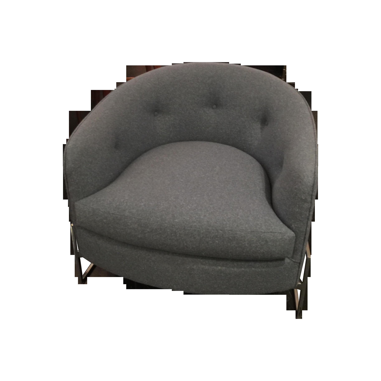 Milo Baughman Gray & Chrome Base Tub Chair | Chairish