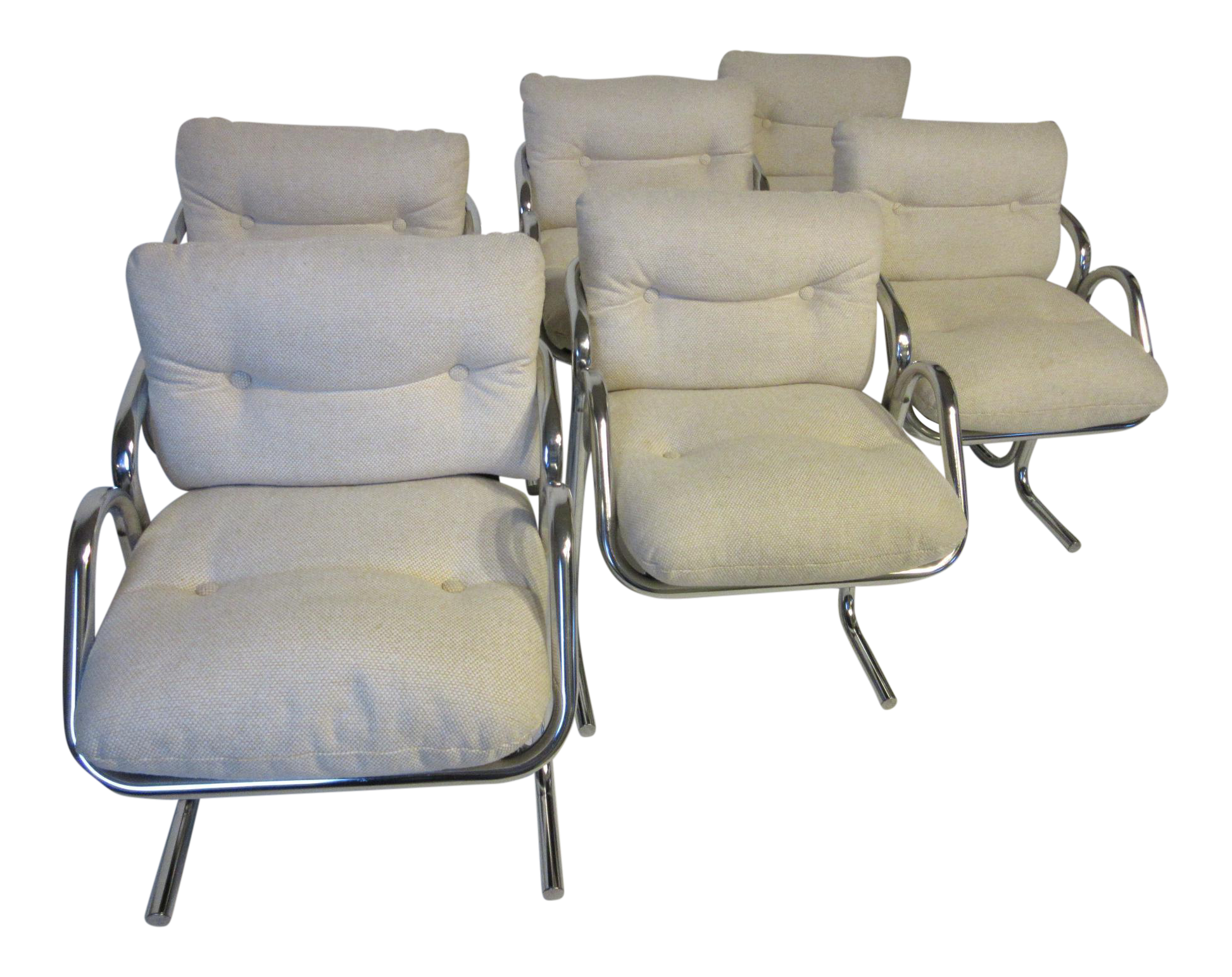 Jerry Johnson Chrome And Upholstered Dining Chairs By Landes Company Set Of 6