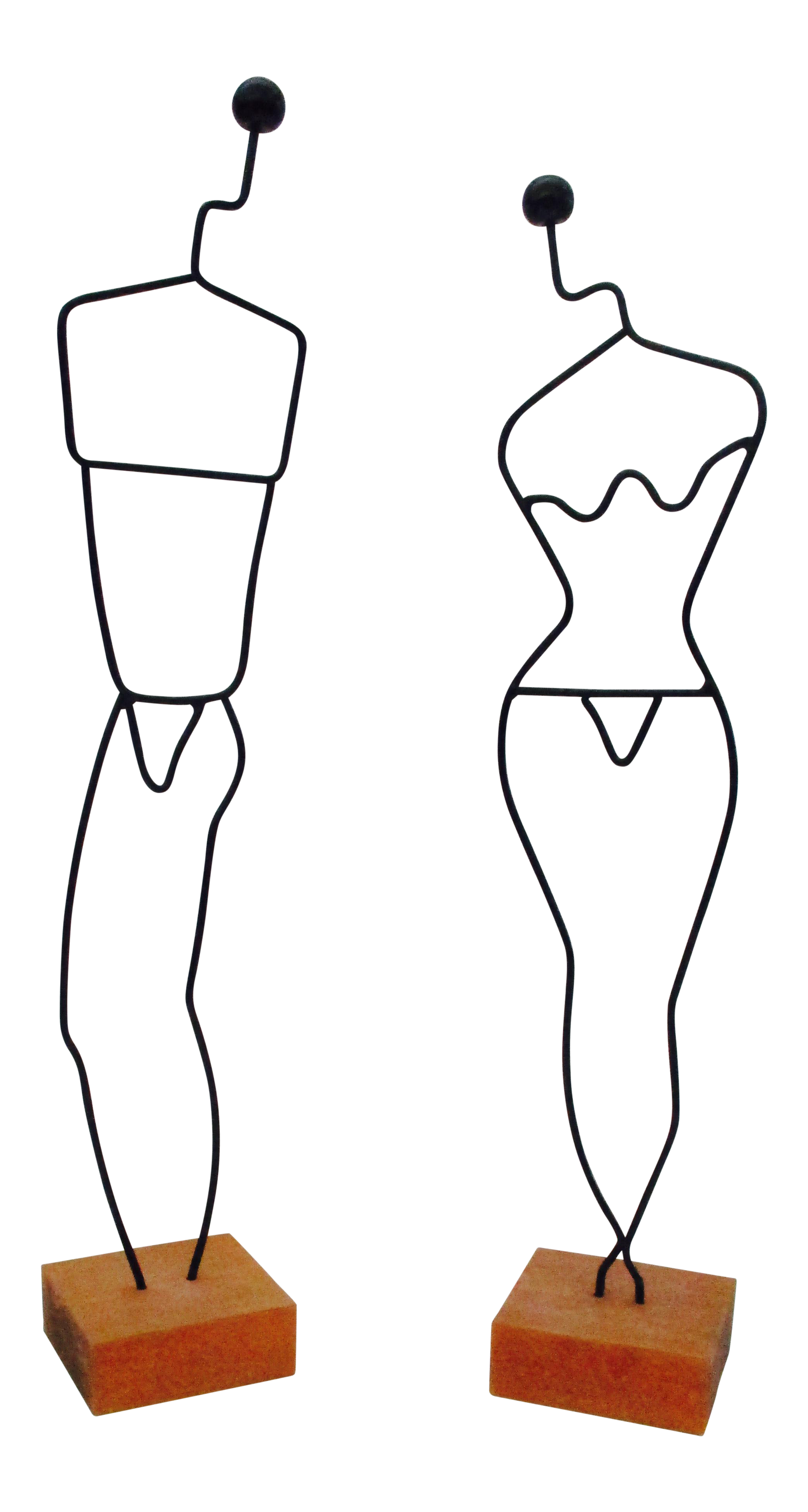 Danish Modern Wire Mannequin Figures - A Pair | Chairish