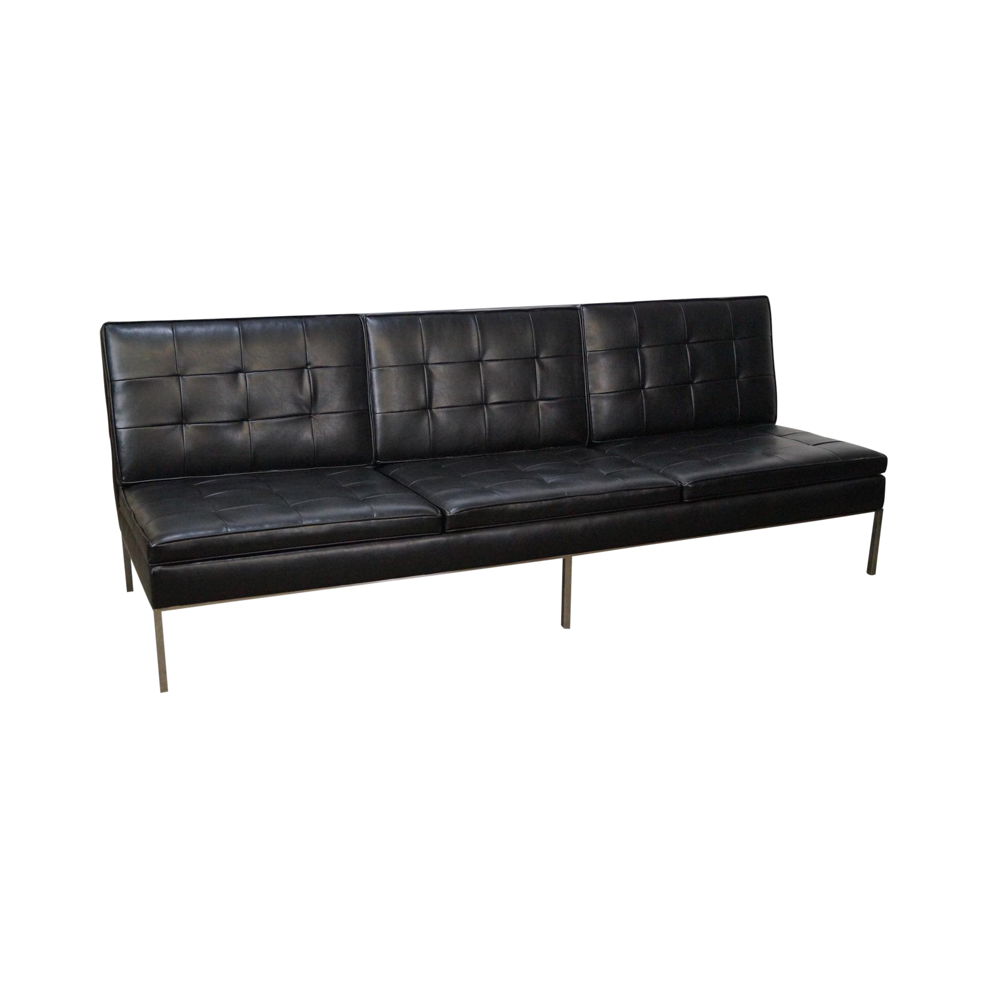Florence Knoll Mid-Century Black Leather Armless Sofa | Chairish