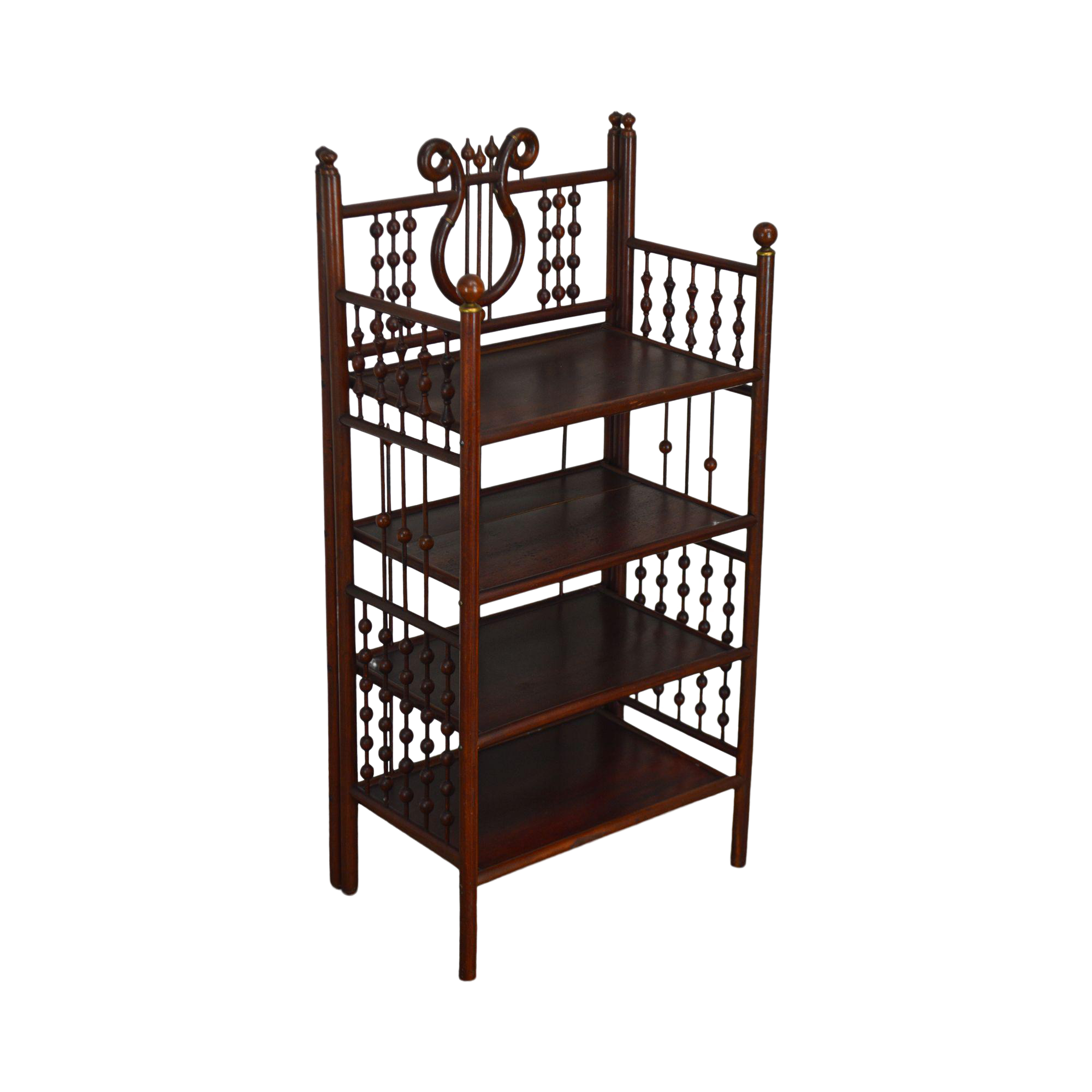 Antique Victorian Stick Ball 4 Tier Etagere Bookcase Stand