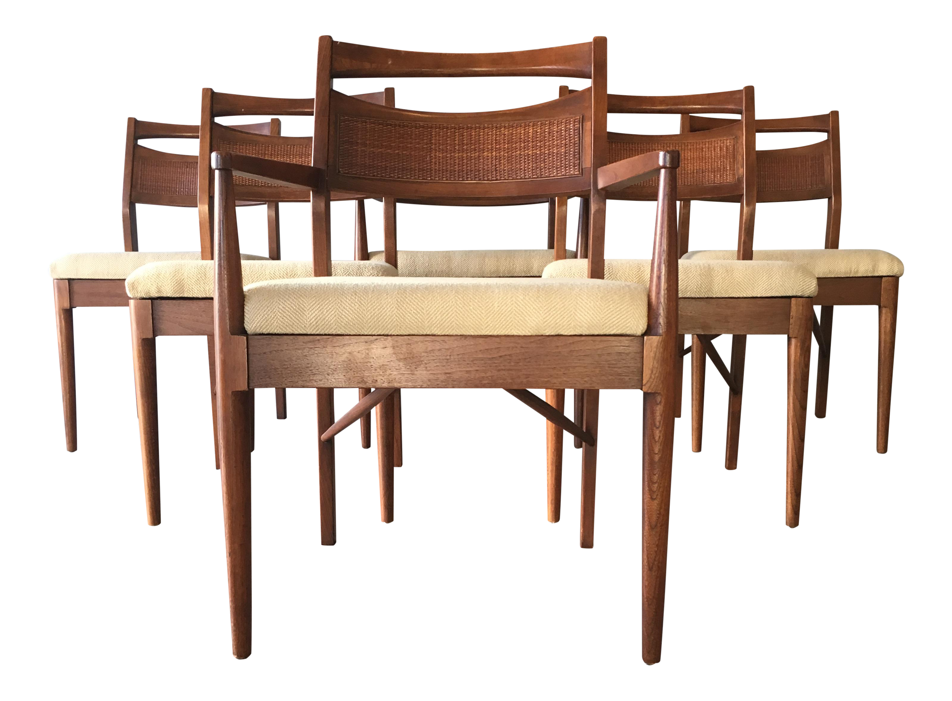 Set Of 6 Dining Room Furniture Vintage Modern Seating Mid Century Dining Chairs Cane With Woven Back 1960s 1950s Walnut Dining Chairs Home Living