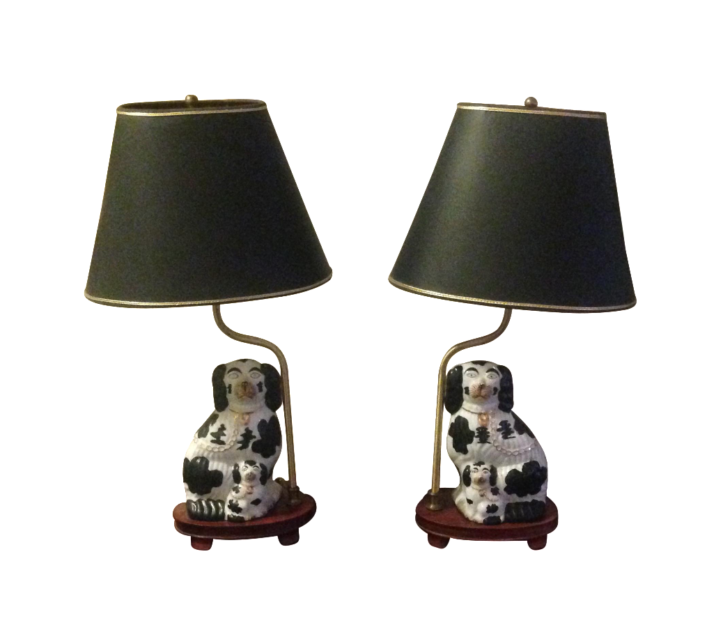 Vintage staffordshire spaniel dog lamps a pair chairish mozeypictures Image collections