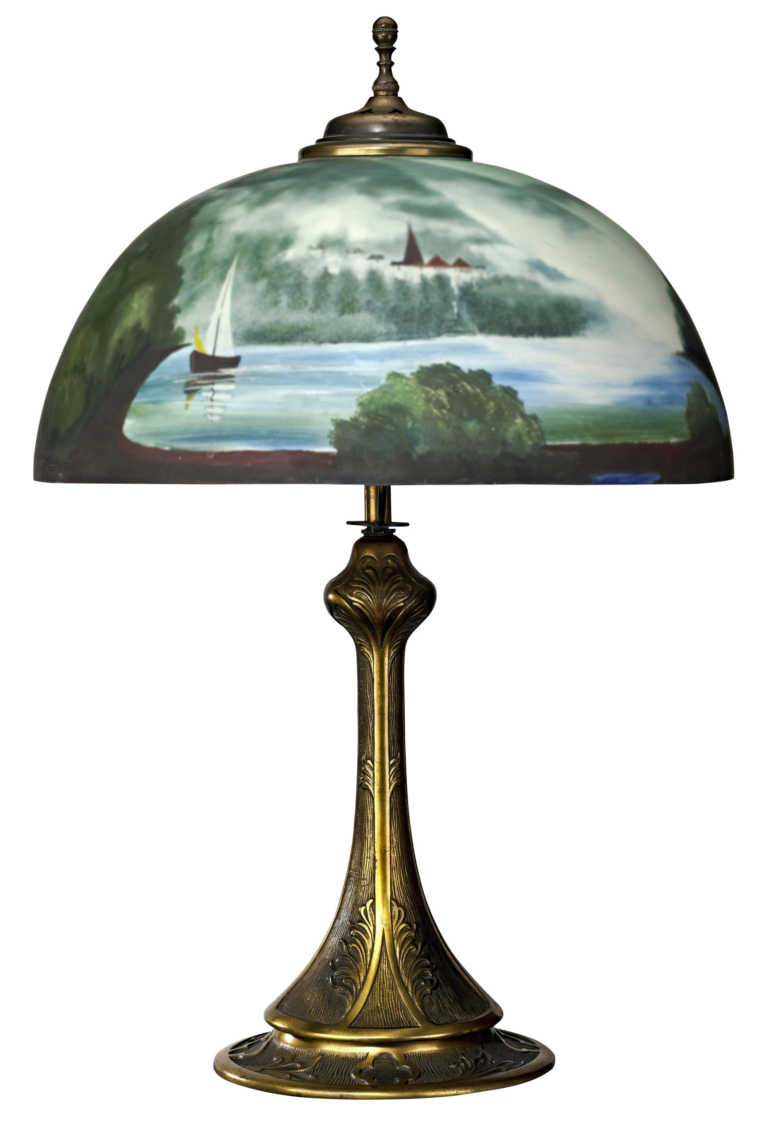 1920 S 1930 S Antique Brass Table Lamp With Reverse Painted Glass