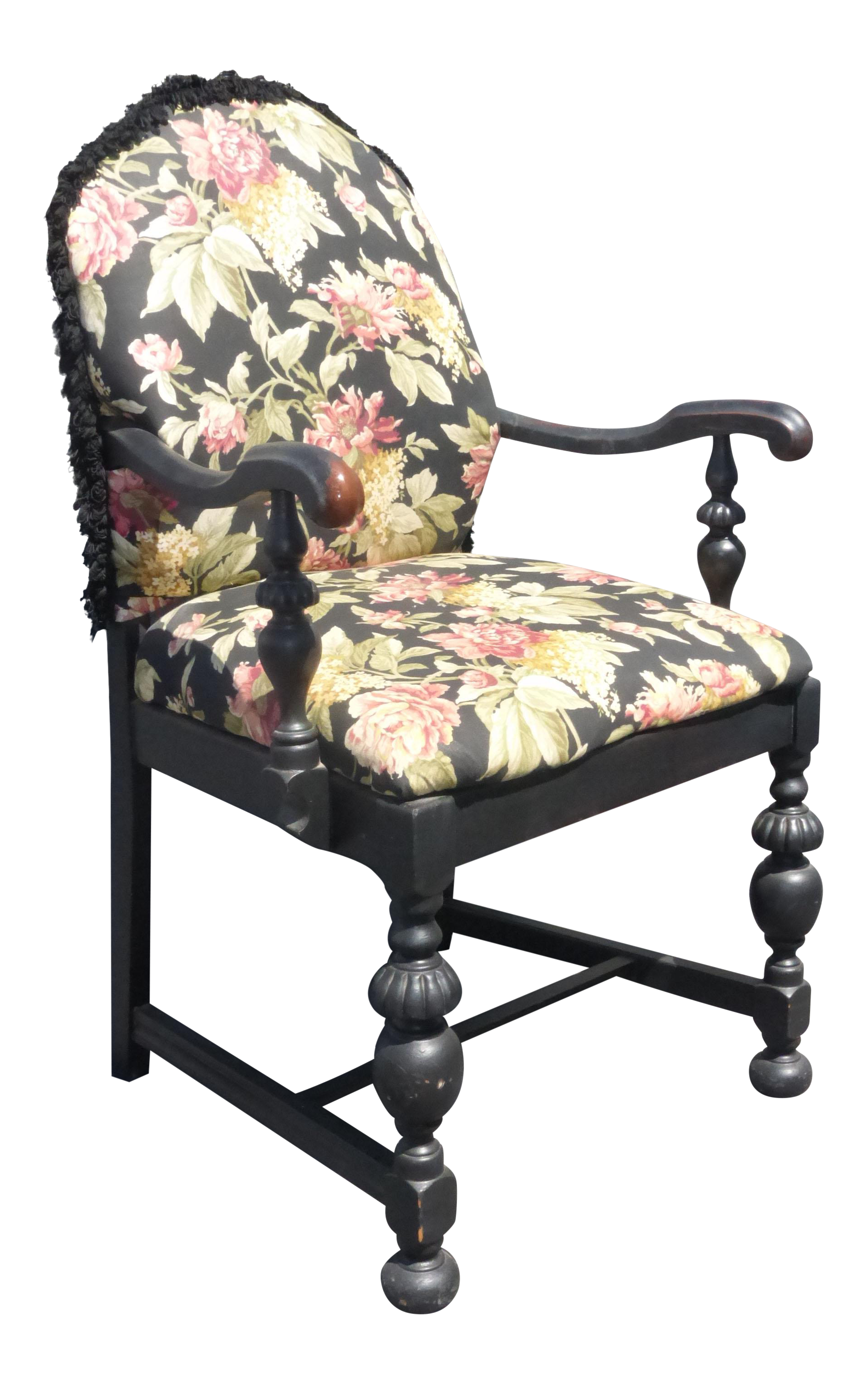 French Country Black Floral Design Accent Chair Chairish