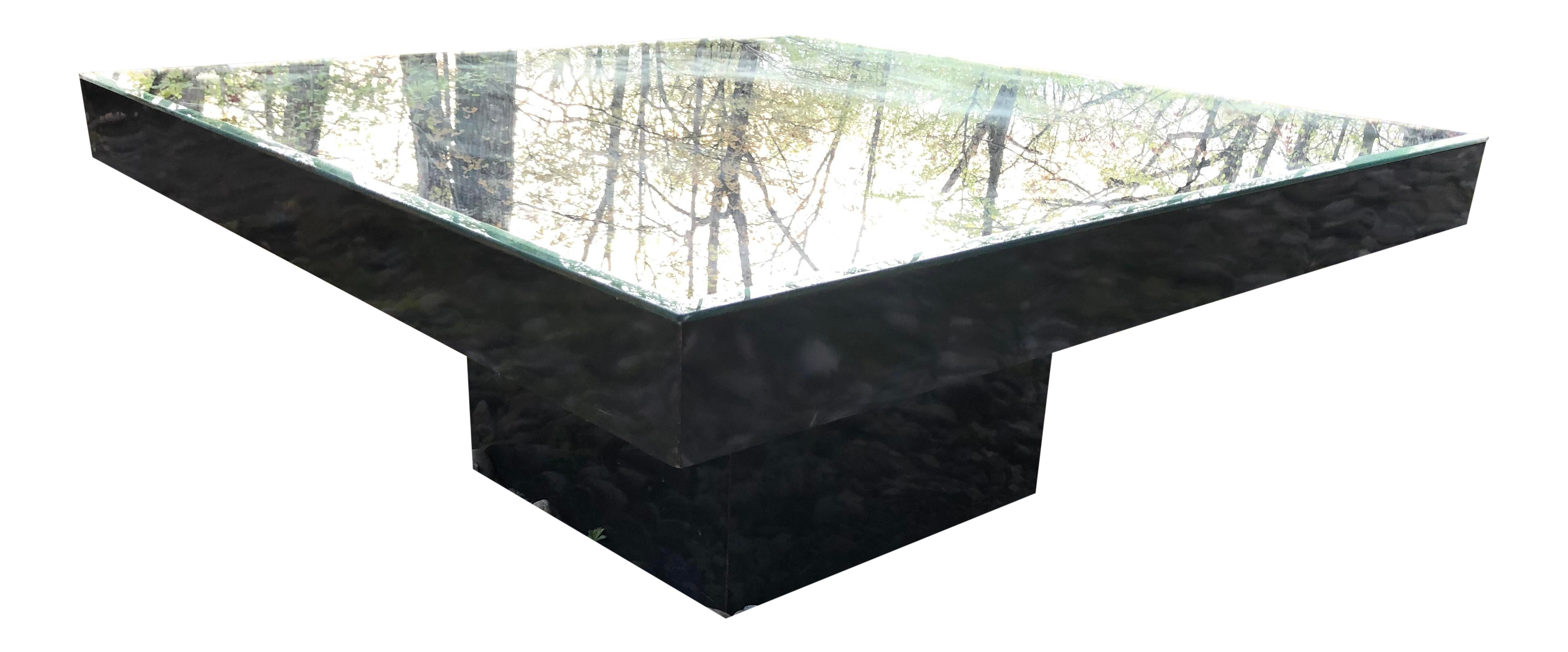 - Black Lacquer Coffee Table Pedestal With Mirrored Top Chairish