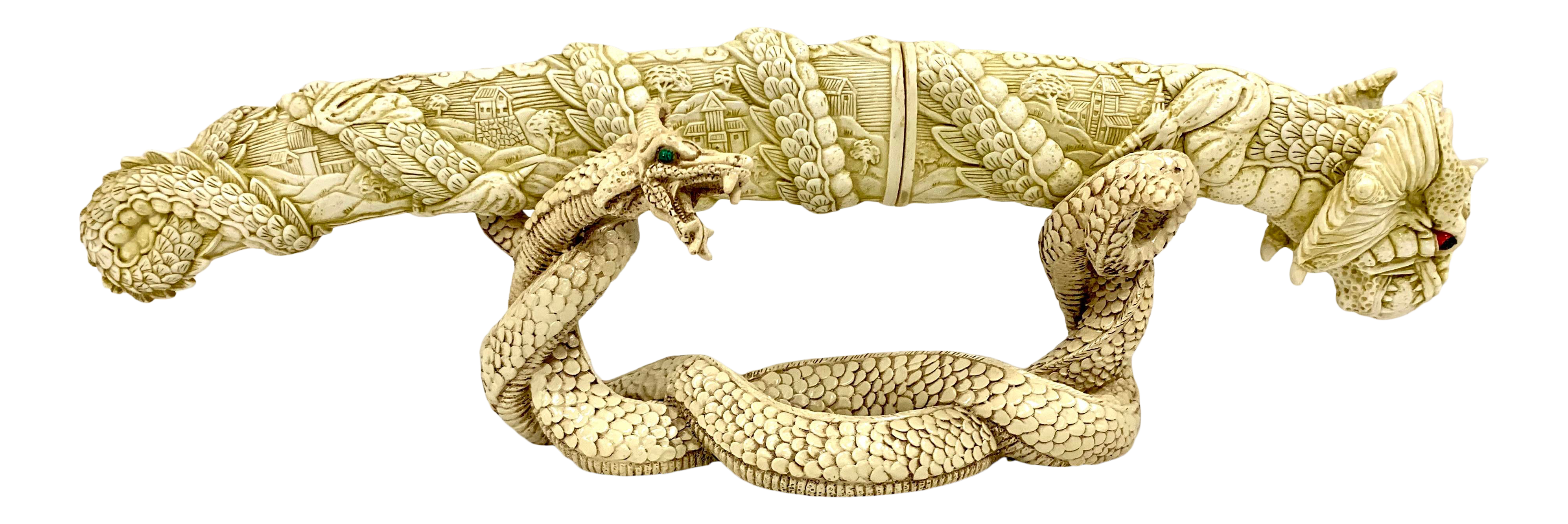 Chinese Carved Bone Dragon Sword With Sheath On Serpent Stand Chairish