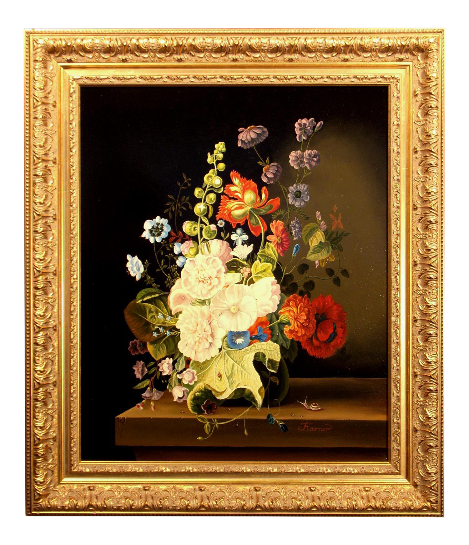 Othmer Karner Flowers Realistic Floral Vase Bouquet Framed Original Oil Painting Signed Chairish