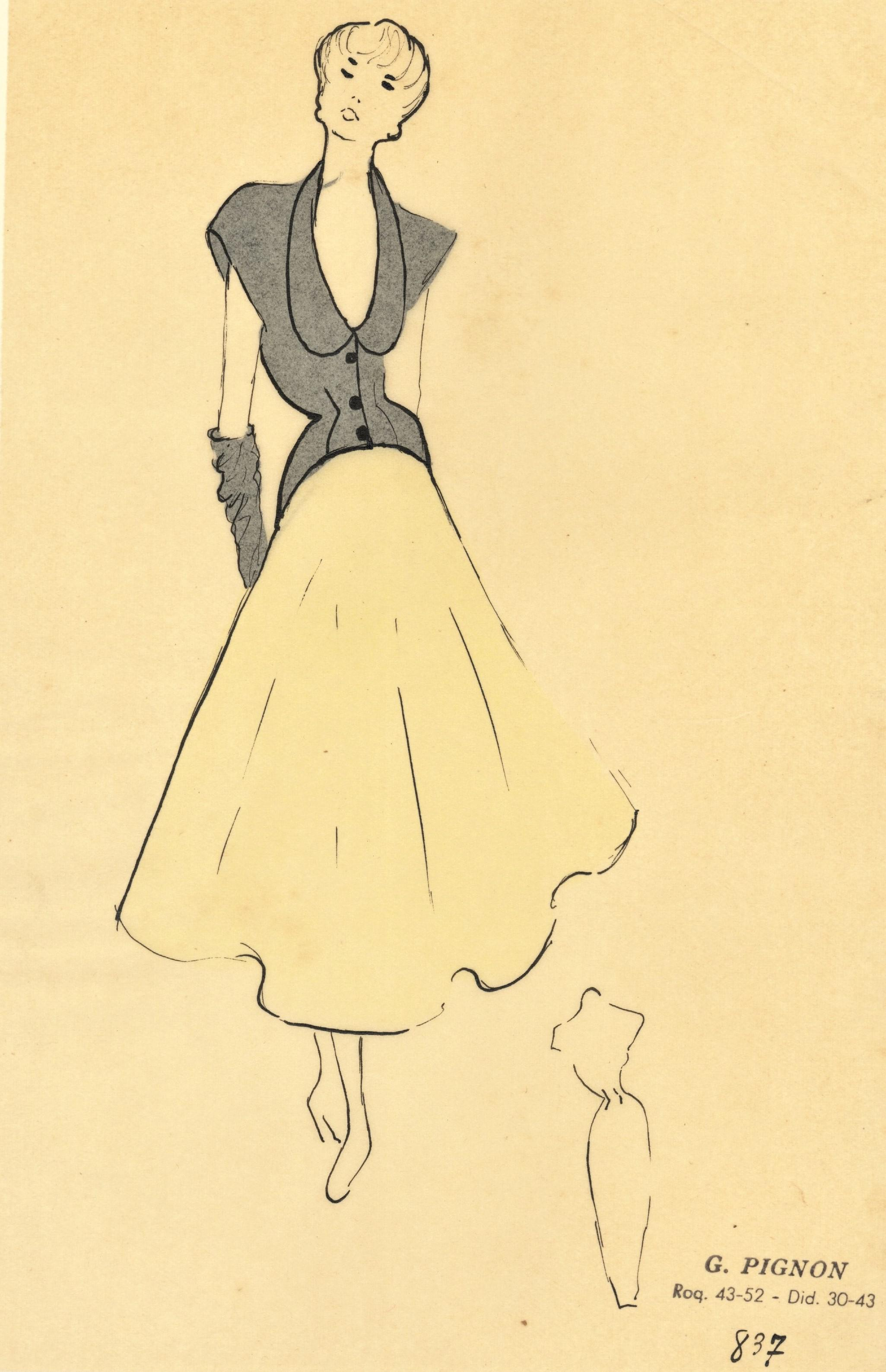 Mid Century 1940s Fashion Drawing Watercolor Pen Ink Chairish