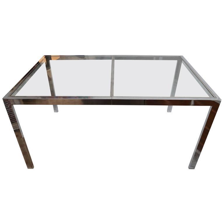 Mid Century Modern Milo Baughman Chrome and Glass Dining Table
