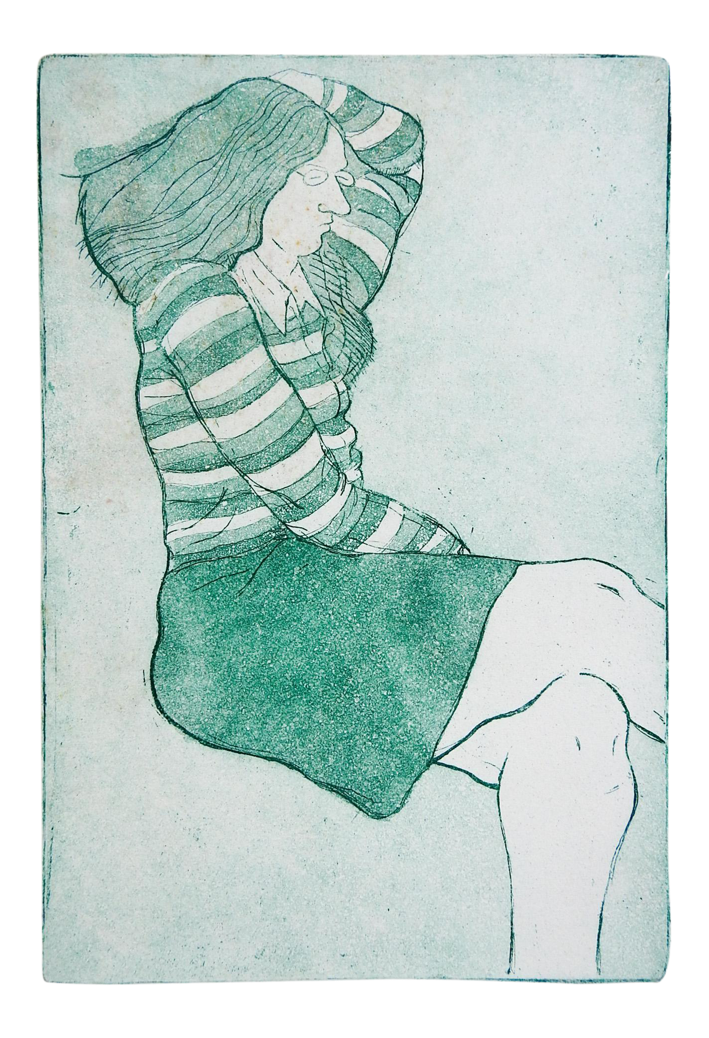 Mid Century Woman In Green Skirt Etching Chairish