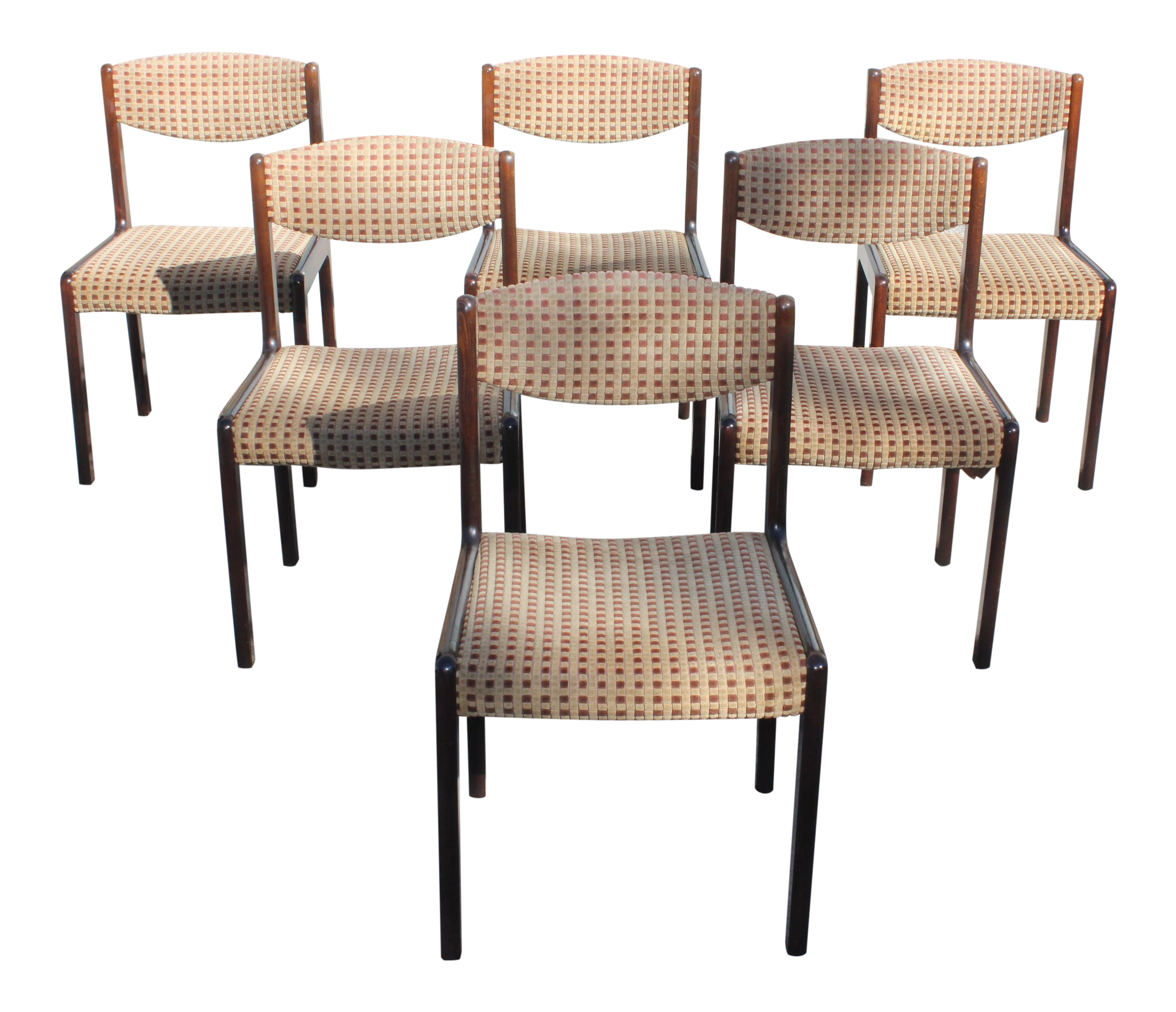 1940s vintage french art deco modern solid mahogany dining chairs set of 6 chairish