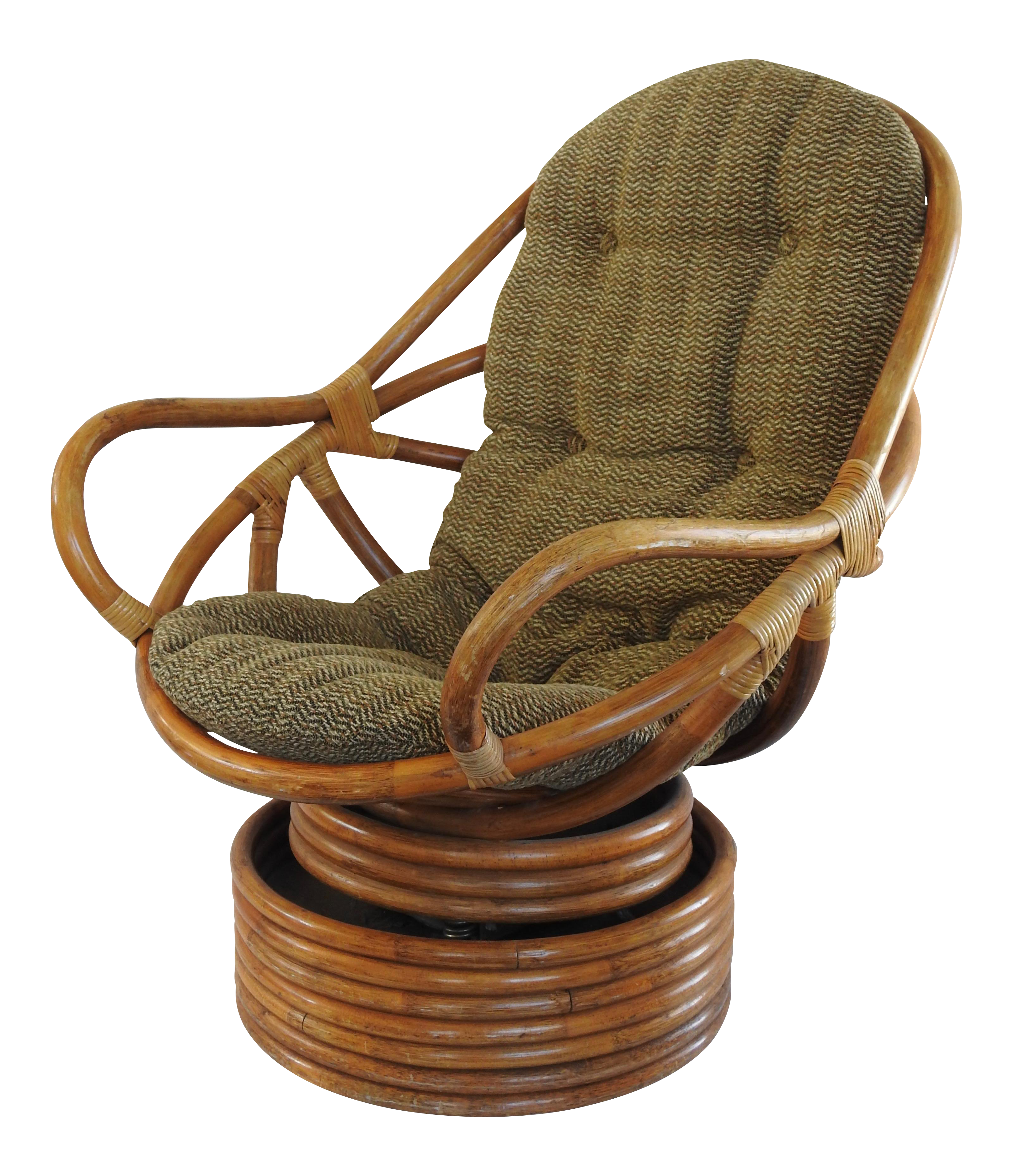 Image of: Mid Century Modern Swivel Rattan Pretzel Chair Chairish