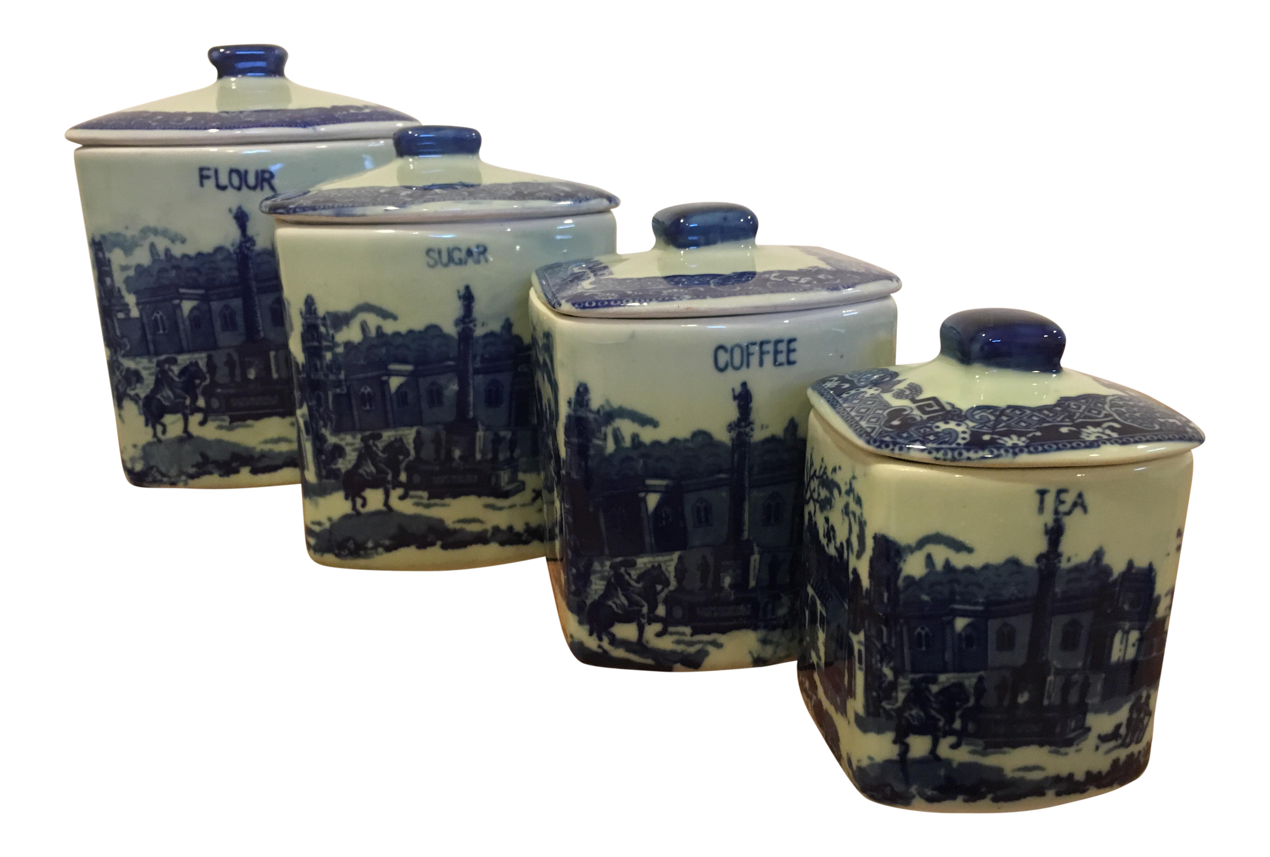 Blue Vintage Reproduction Ironstone Kitchen Canisters - Set of 4 (Tea  Coffee Sugar and Flour)