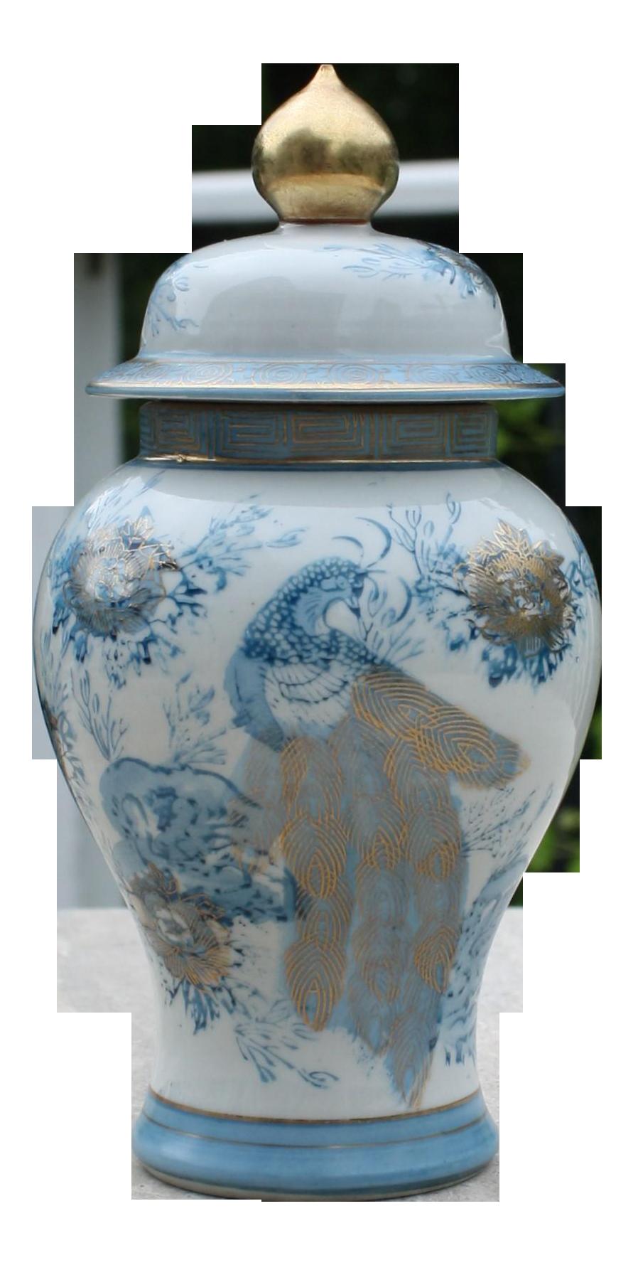 Vintage used gold ginger jars chairish vintage blue white gold kutani porcelain temple jar vintage gold imari blue peacock reviewsmspy