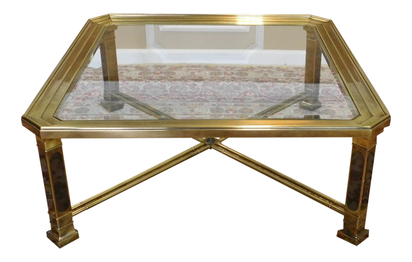 1980s contemporary brass glass square coffee table 40 x for 40 x 40 square coffee table
