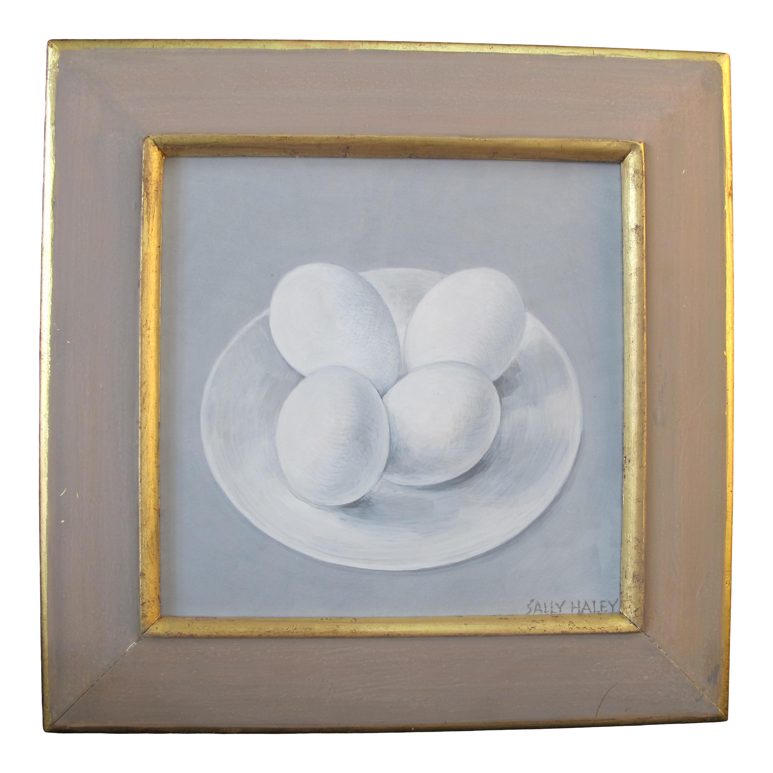 Sally Haley Pacific Nw Art Tempera Still Life Painting Of 4 Eggs On Plate Chairish
