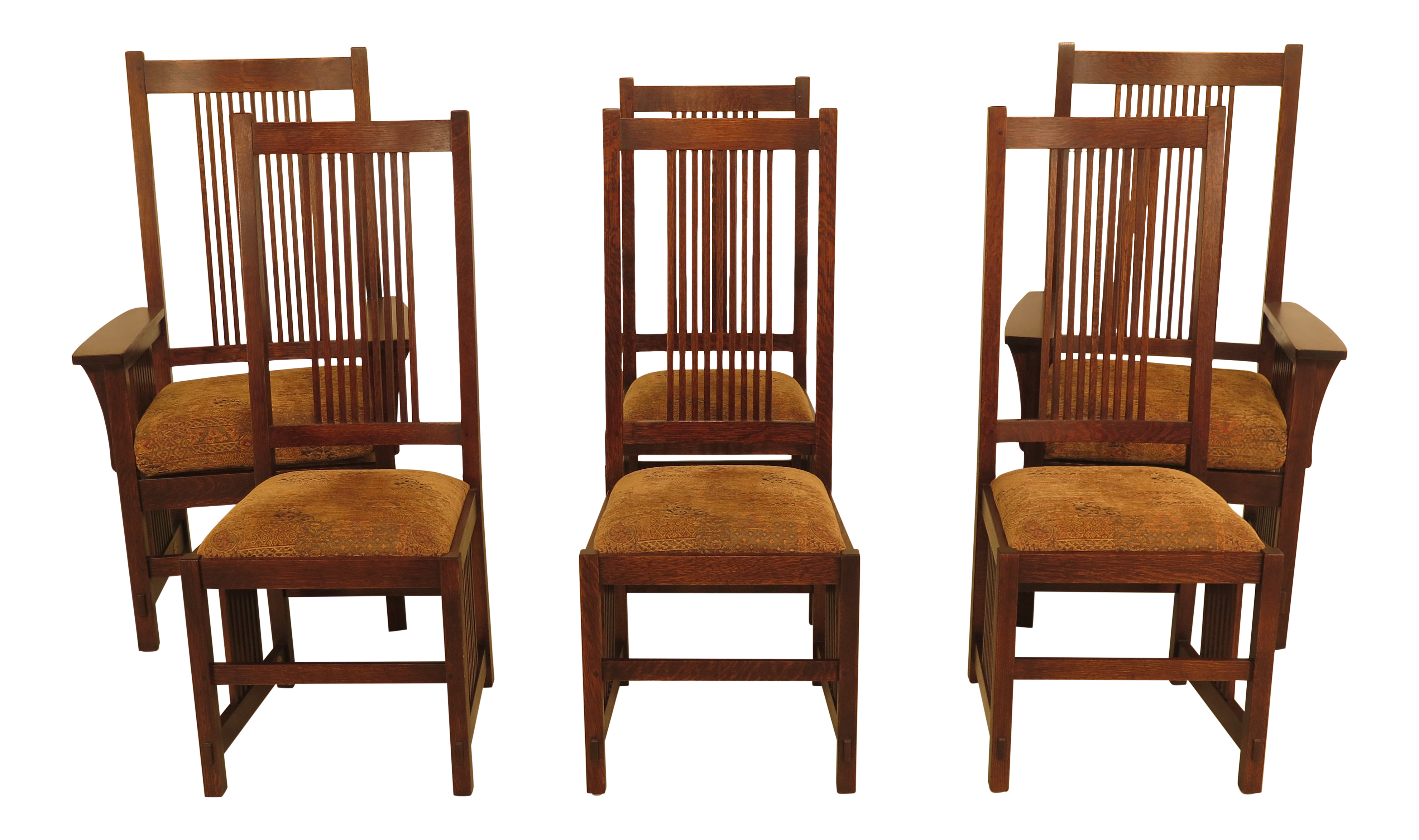 Stickley Mission Oak High Back Dining Room Chairs - Set of 6