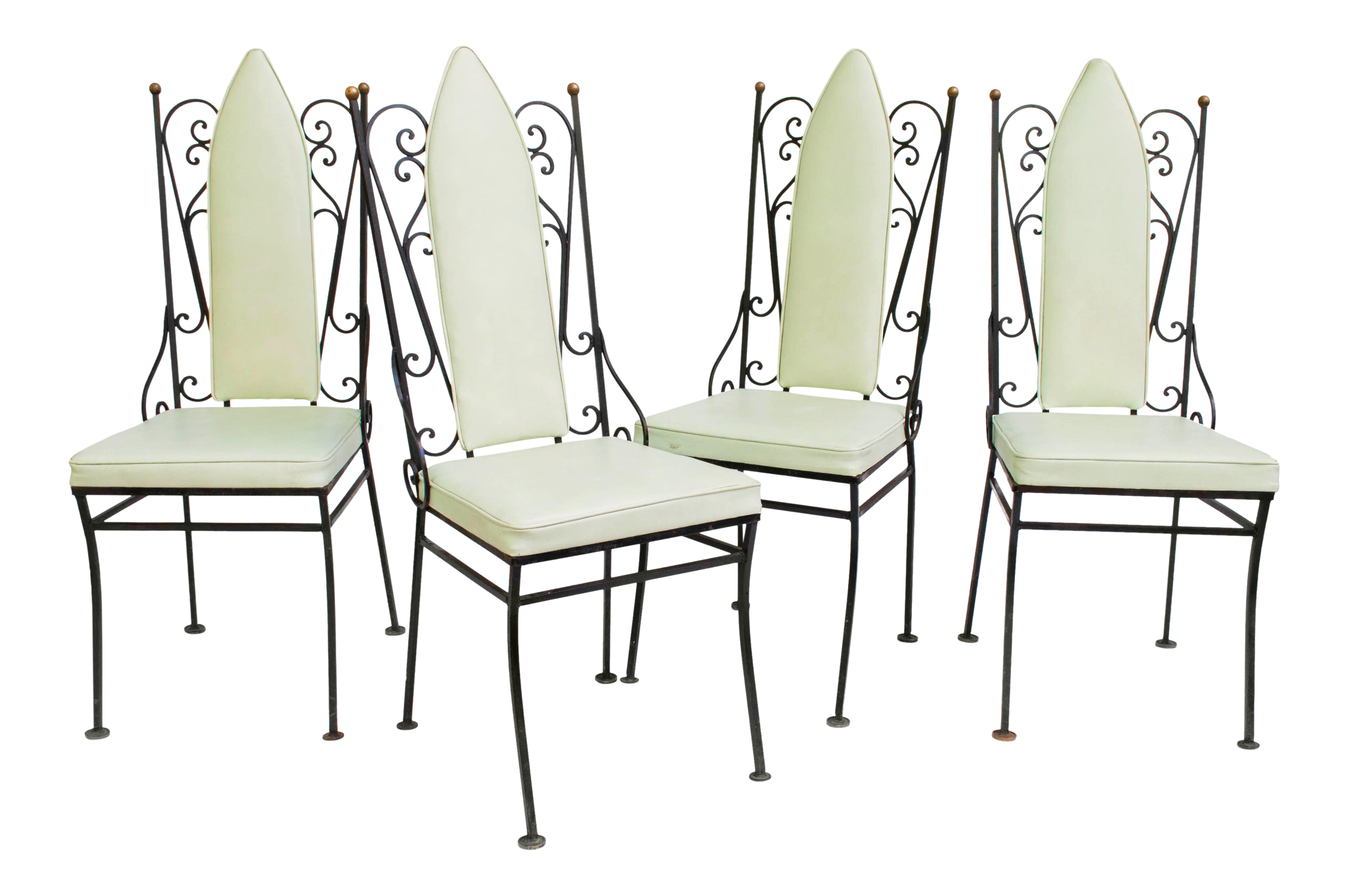 Vintage Cathedral Black Wrought Iron Dining Chairs Set Of 4 Chairish