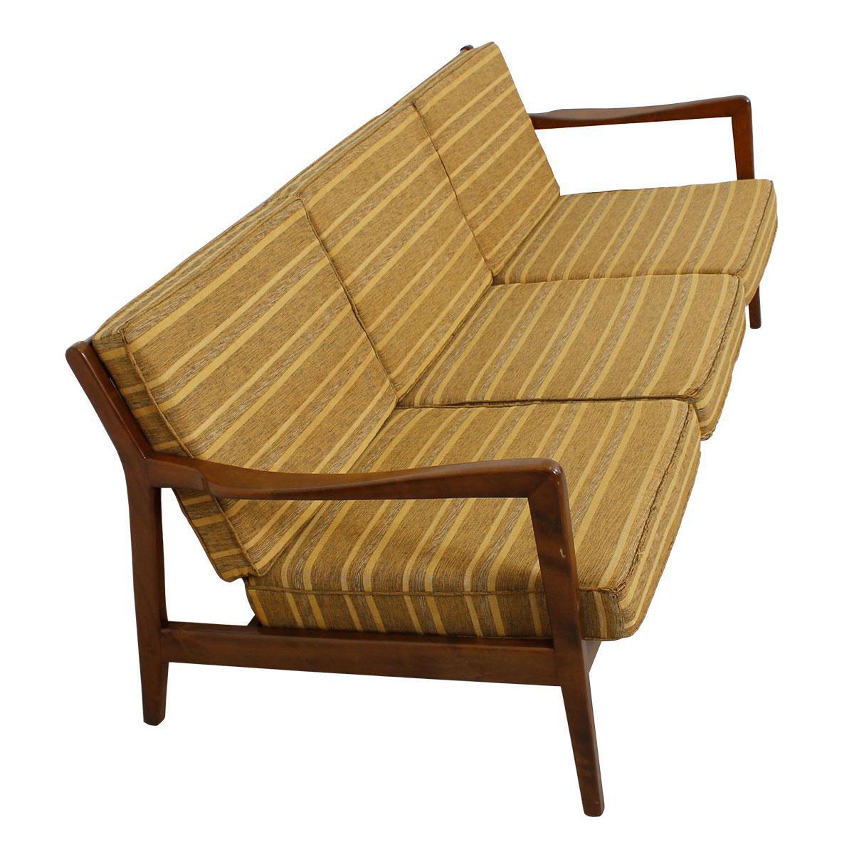 MCM/Danish Modern Walnut Frame 3-Seat Sofa with Slat Back and ...