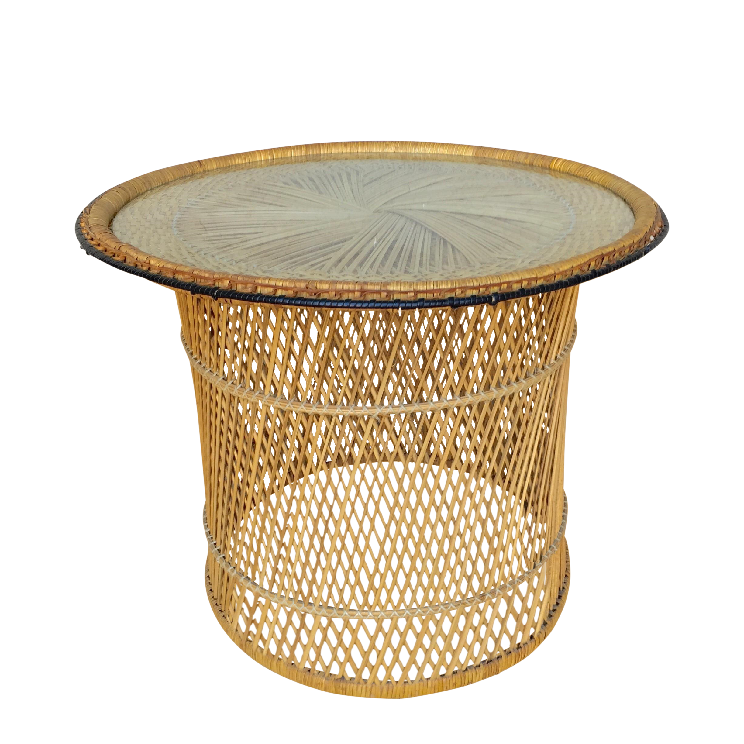 MCM Rattan Wicker Woven Glass Round Side Table