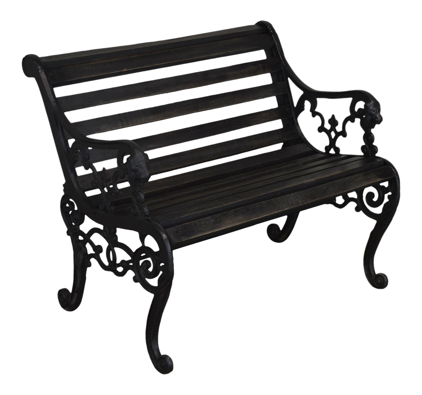 Picture of: Vintage Victorian Style Lion Head Cast Iron Garden Park Bench With Wood Slats Chairish