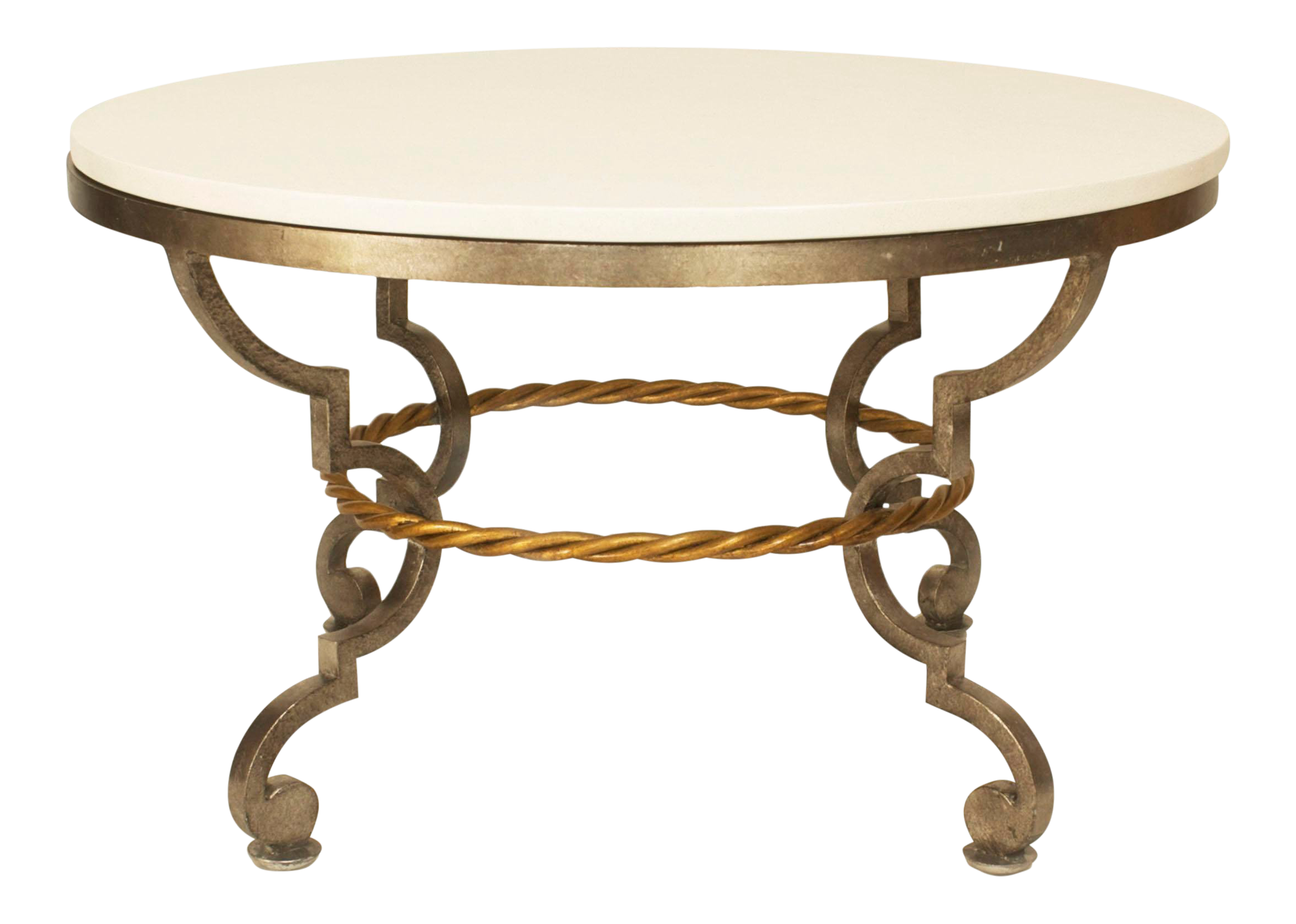 Exceptional Art Modern Style Poillerat Silver Patinated Bronze Round Coffee  Table   DECASO