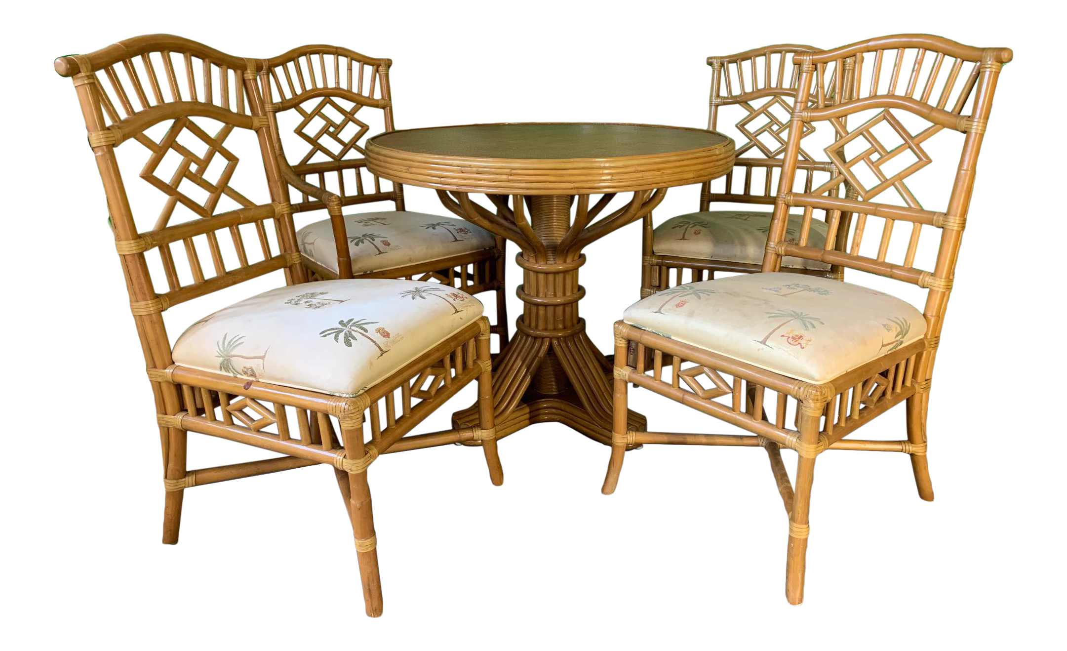 Awesome Vintage Rattan Dining Set Table And Four Chairs Short Links Chair Design For Home Short Linksinfo