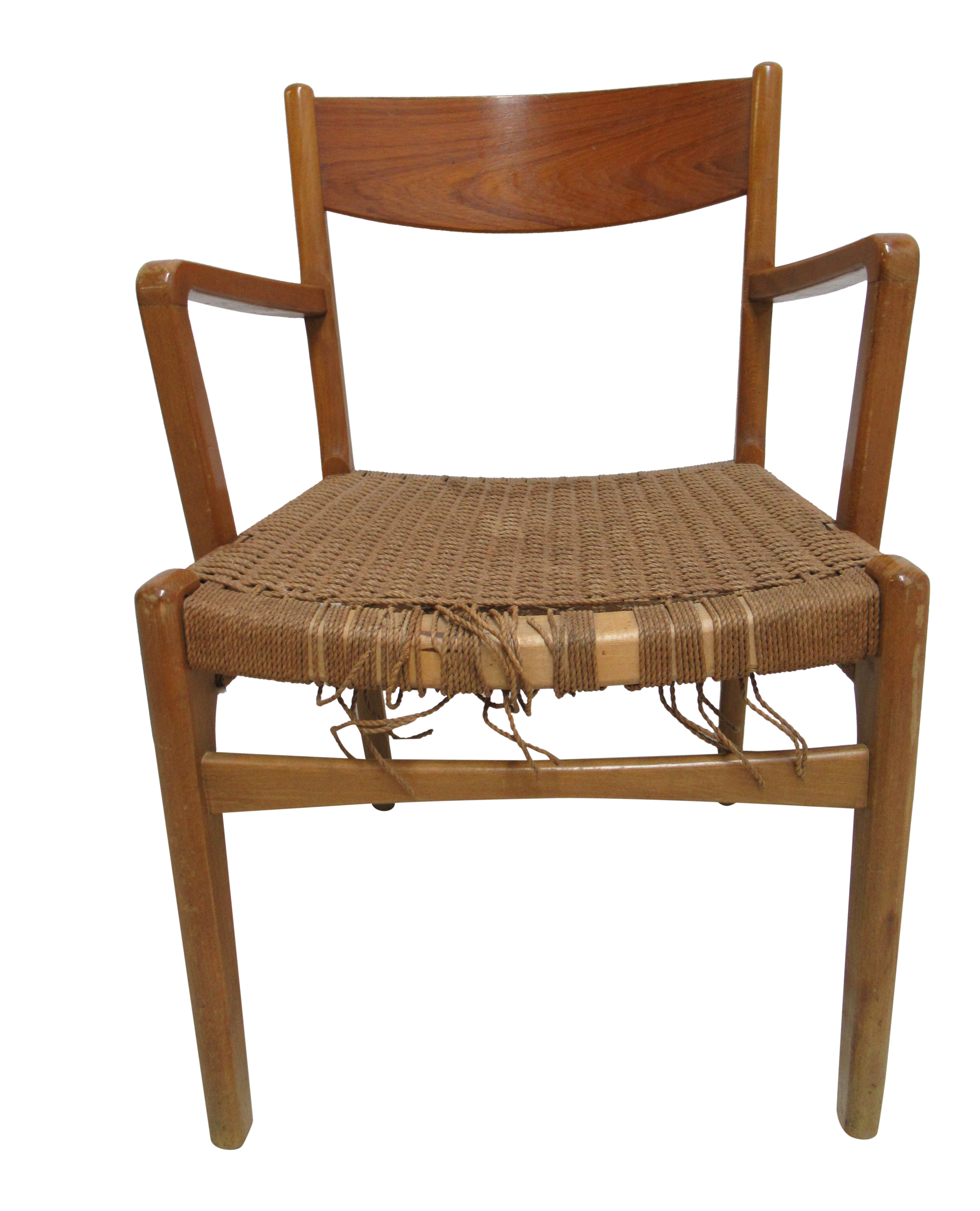 Vintage han wagner style danish modern woven seat arm chair chairish