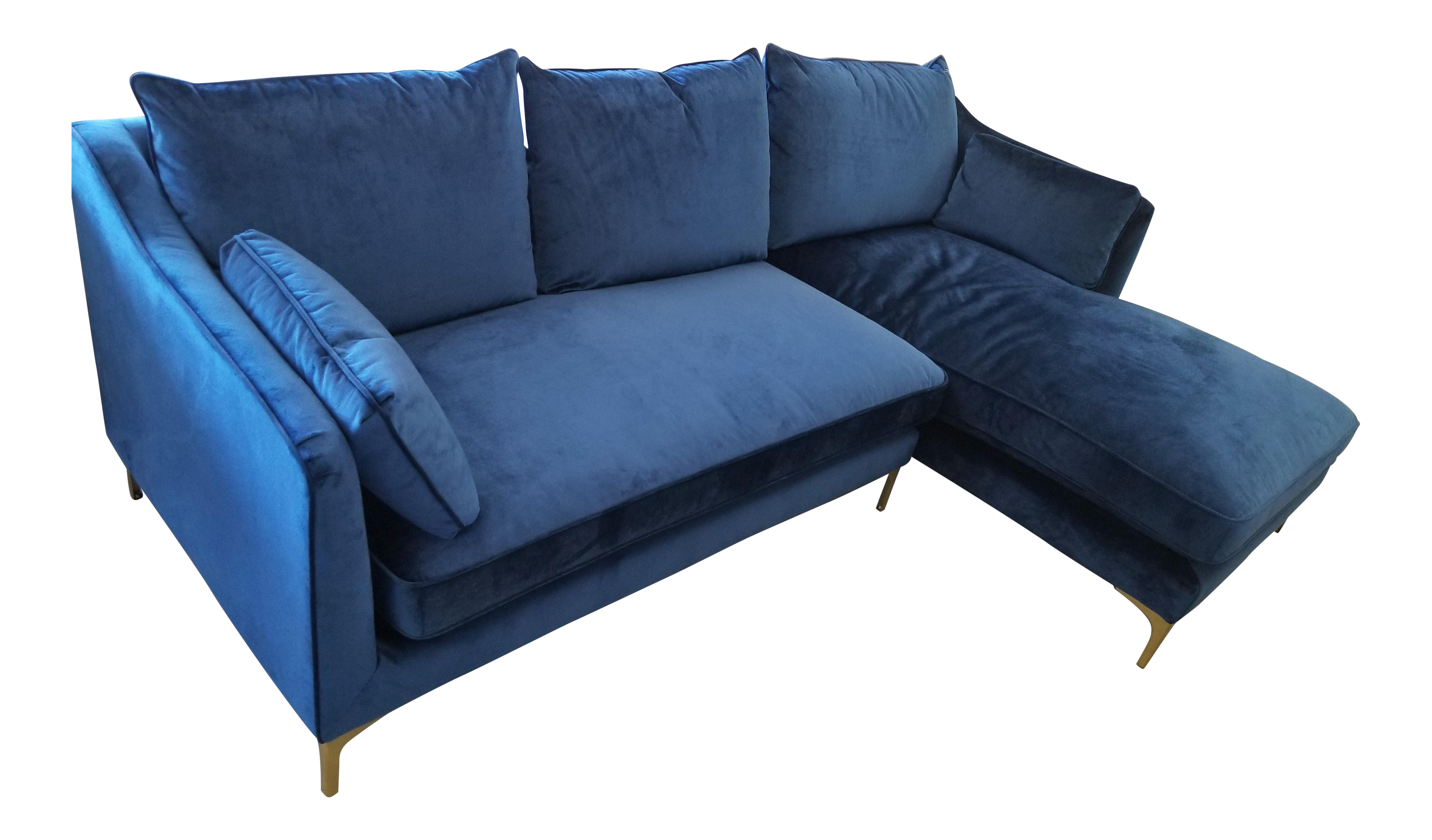 Amazing Navy Blue Velvet Sectional Sofa With Right Chaise Onthecornerstone Fun Painted Chair Ideas Images Onthecornerstoneorg