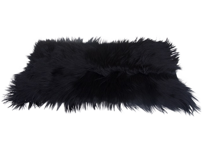 Black Long Haired Goat Skin Rug 2 1 Quot X 4 Chairish