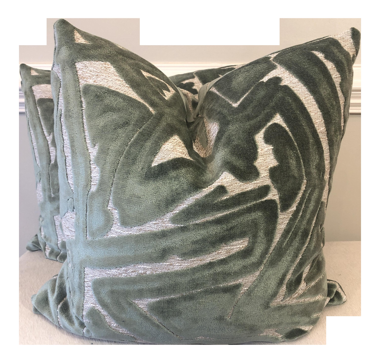 Sage Green Graffiti Cut Velvet 22 Pillows A Pair Chairish