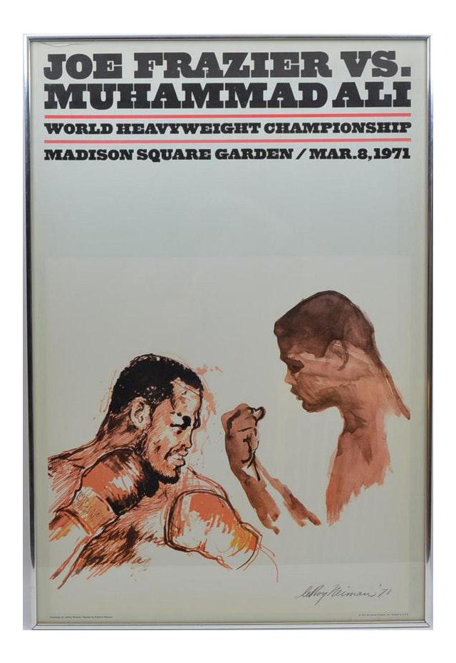 1970s Vintage Leroy Neiman Framed Original Muhammad Ali Vs Joe Frazier Heavyweight Boxing Fight Poster W Artwork Chairish