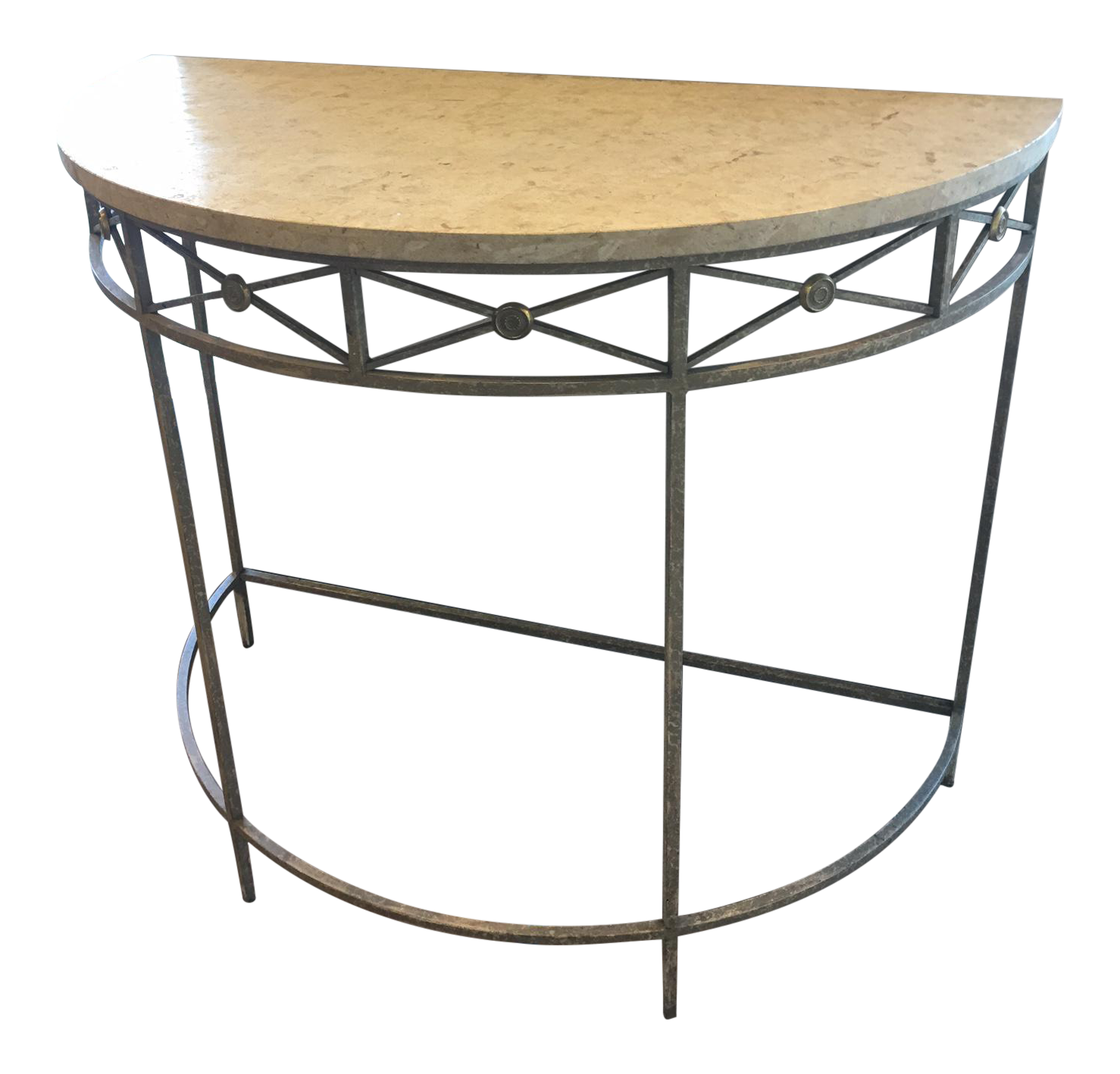 Italian stone top demi lune table chairish - Table demi lune murale ...