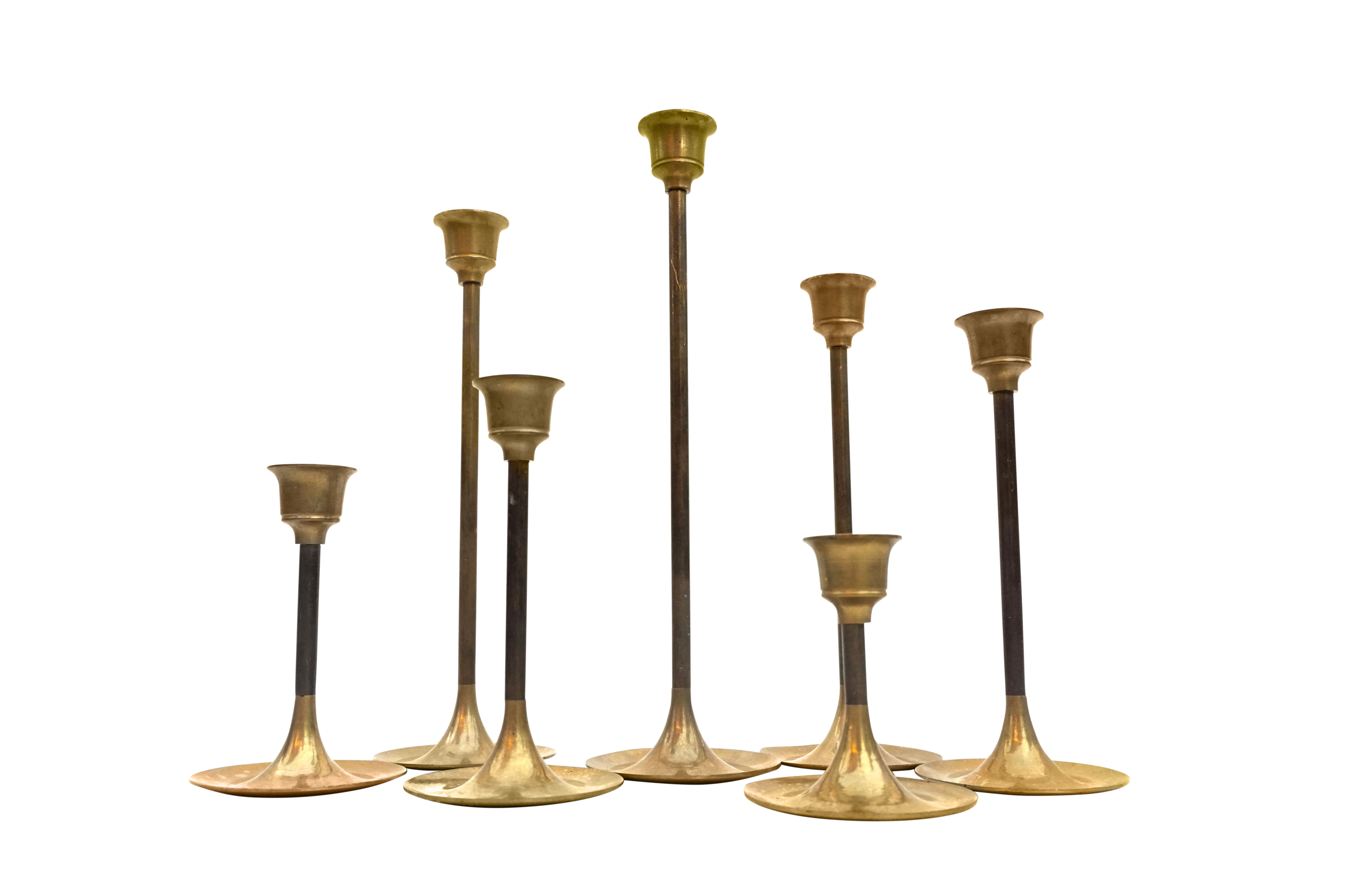 Vintage Brass Candlestick Holders Set Of 7 Assorted Heights 9 3 Wedding Holiday Mantle Centerpiece Decor Chairish