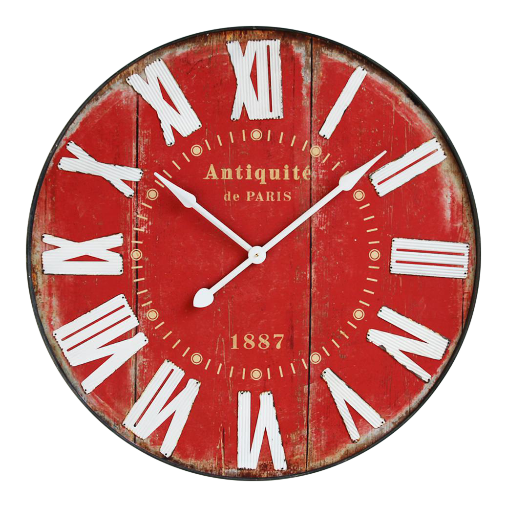 Vintage Red Wall Clock Chairish
