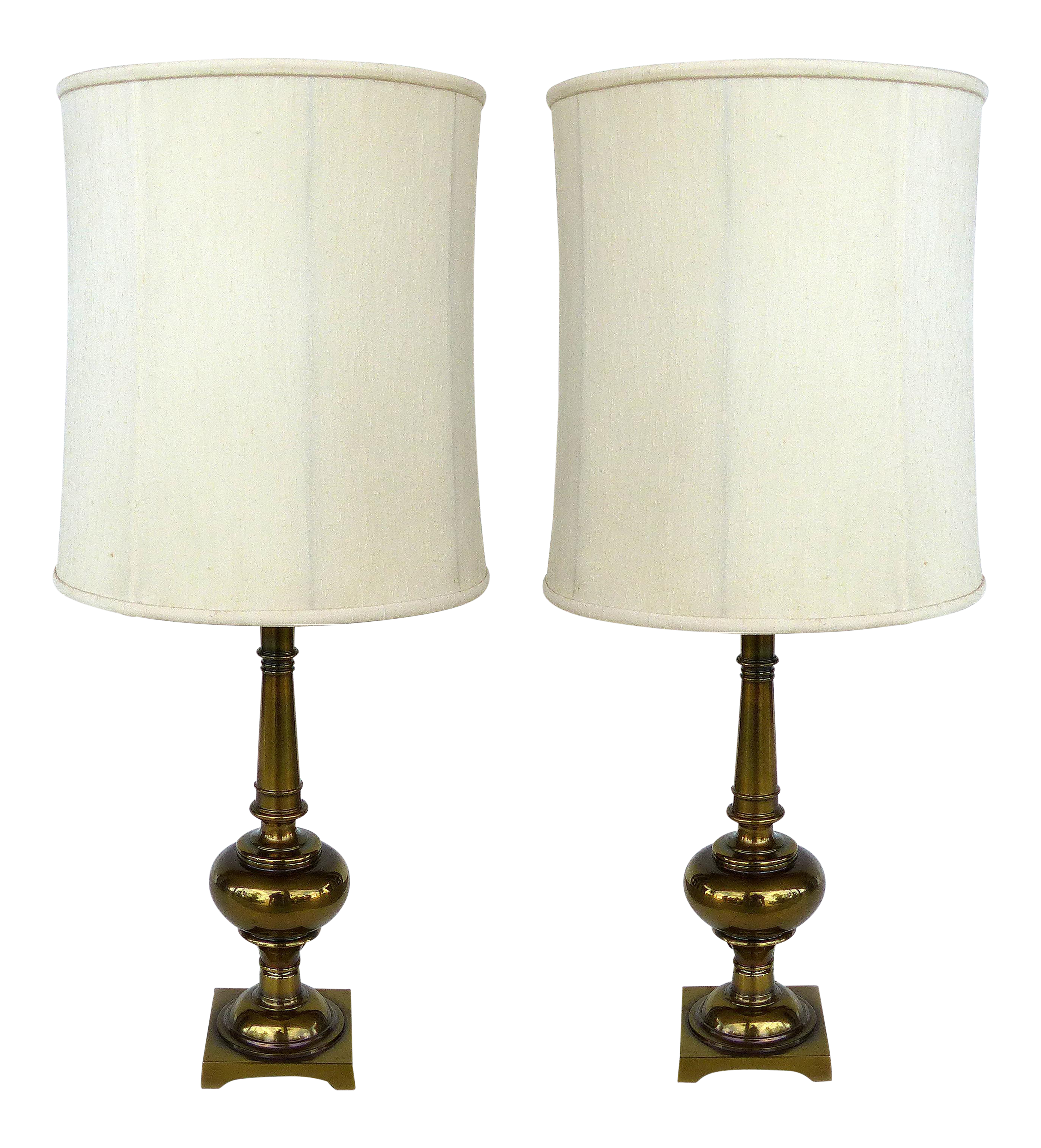 Exceptional Stiffel Brass Table Lamps With Original Stiffel Shades