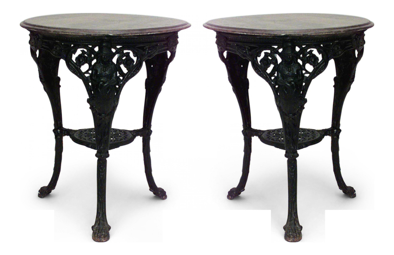 Outdoor English Victorian Iron Pub Table Chairish