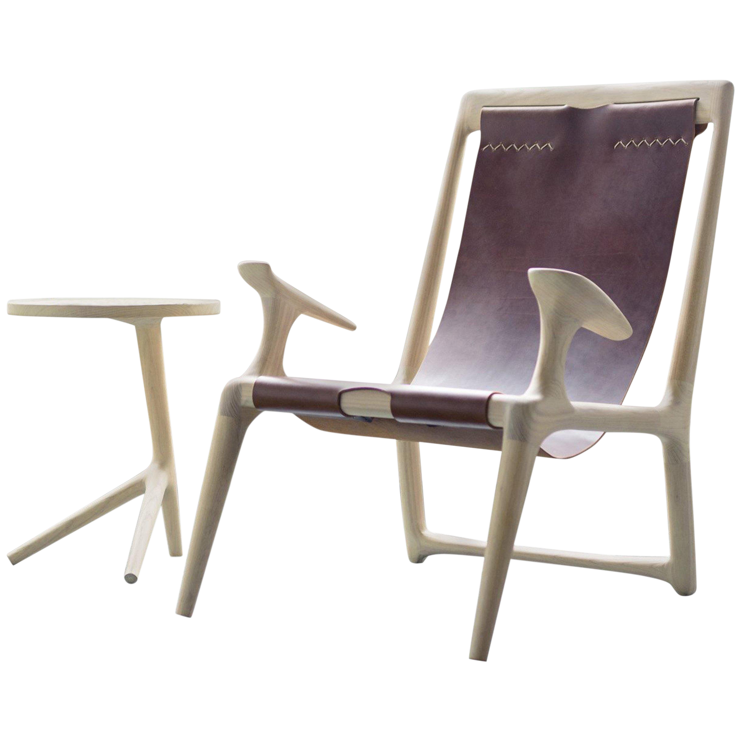 Stupendous Contemporary White Ash And Brown Leather Sling Chair Uwap Interior Chair Design Uwaporg