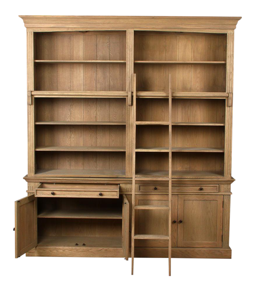 organized kitchen cabinets mid century oak library bookcase with ladder chairish 24107