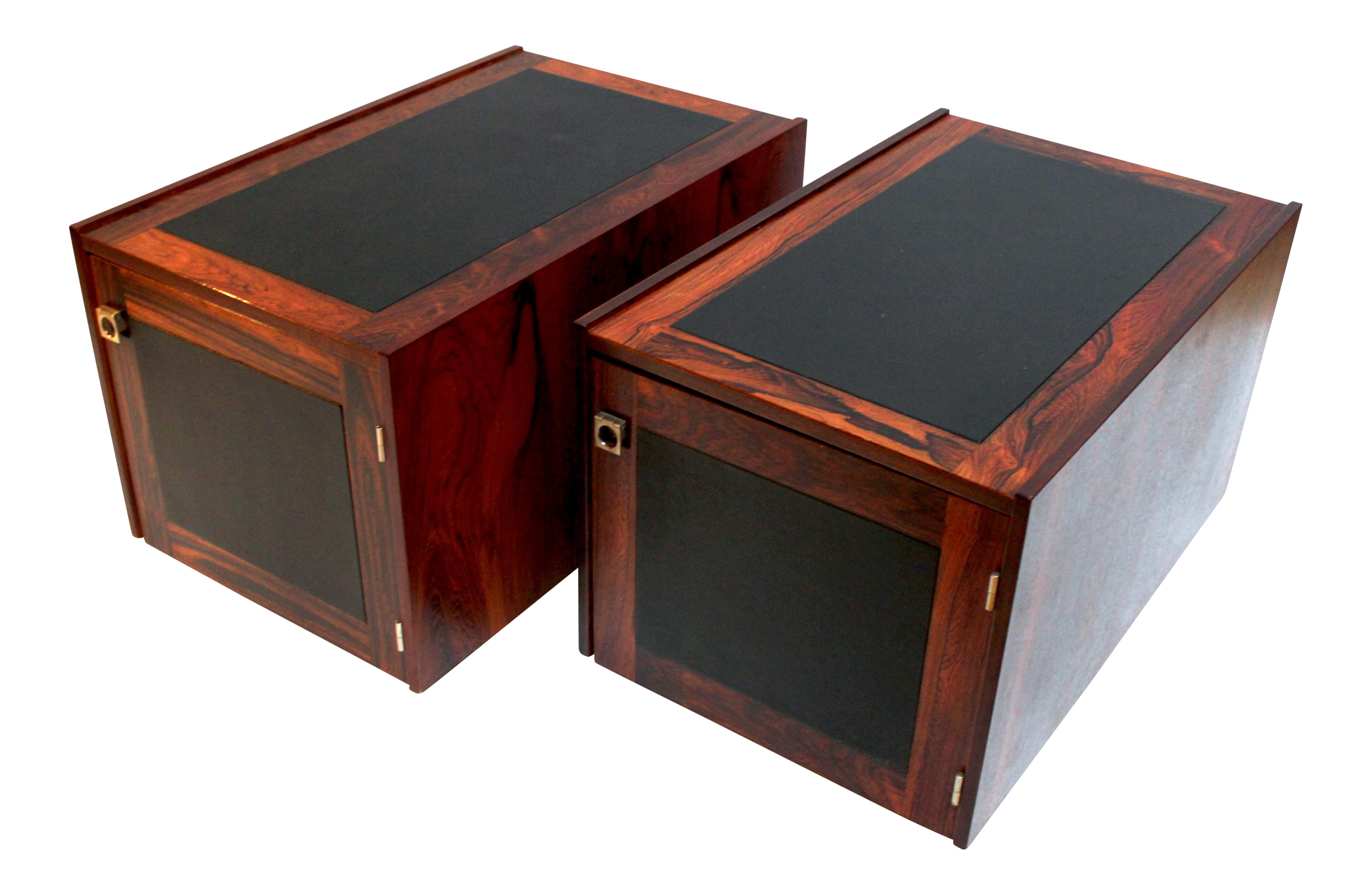 1960s Bornholm Danish Rosewood Leather Storage Side Tables A Pair Chairish