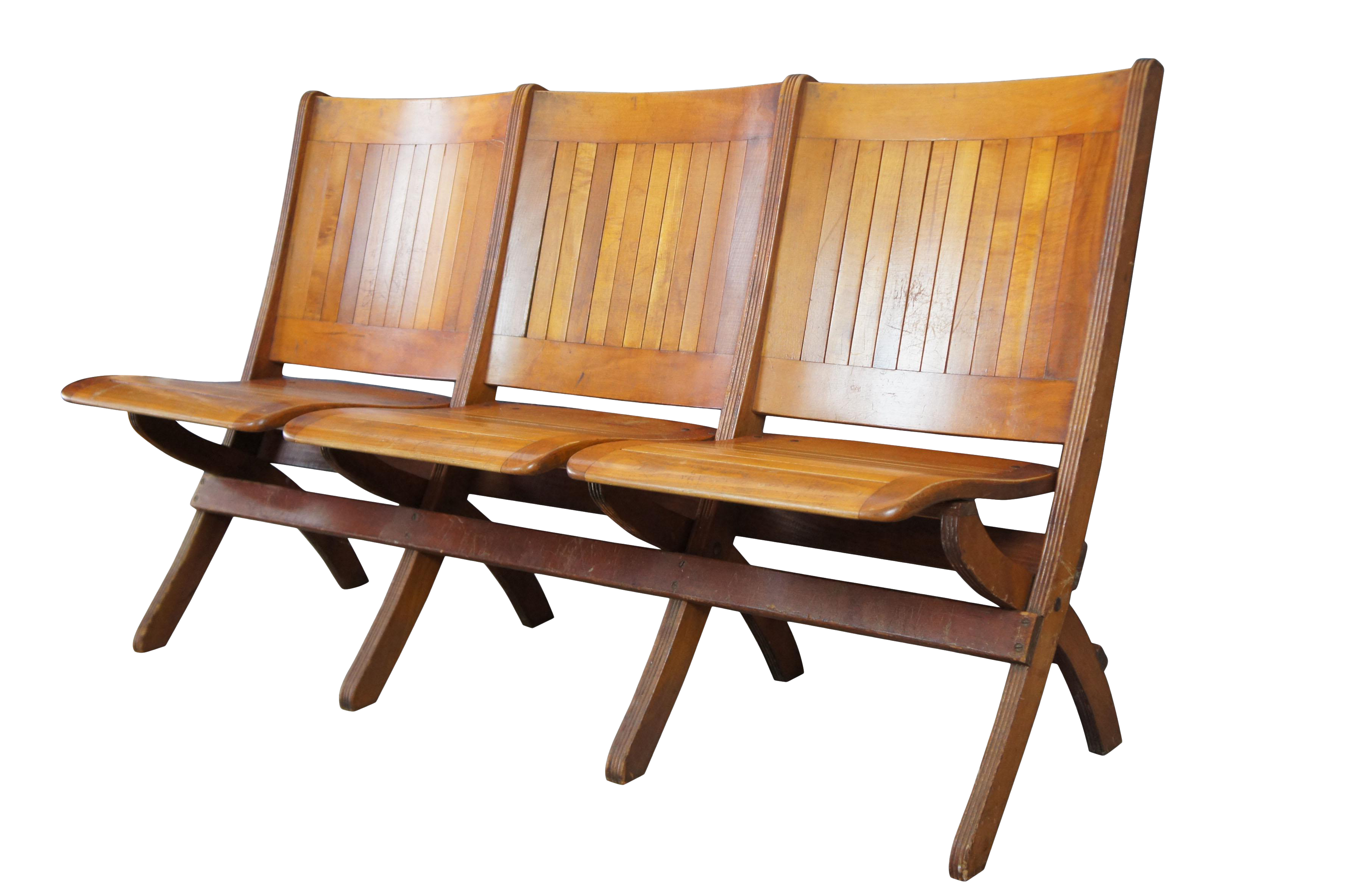 Pleasing Mid Century Double Folding Wood Bench Chair 3 Seat Triple Tandem Stadium Theater Gmtry Best Dining Table And Chair Ideas Images Gmtryco
