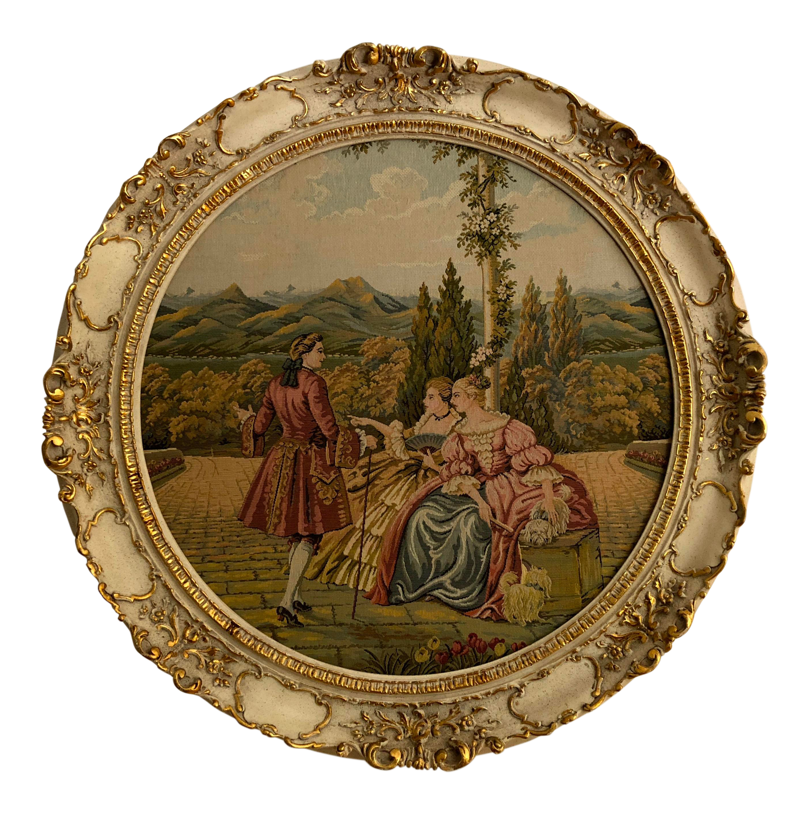 20th Century Italian Capodimonte Style Framed Wall Mount Tapestry ...