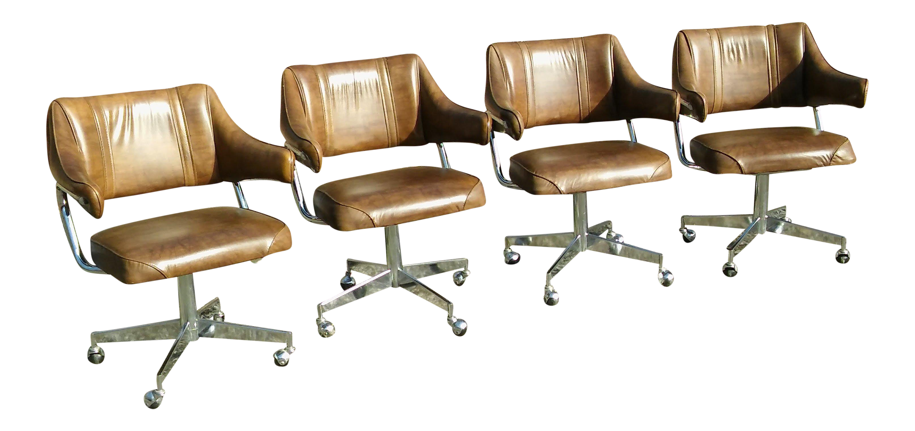 Marvelous Howell Chrome Padded Vinyl Mid Century Modern Swivel Chairs Set Of 4 Caraccident5 Cool Chair Designs And Ideas Caraccident5Info