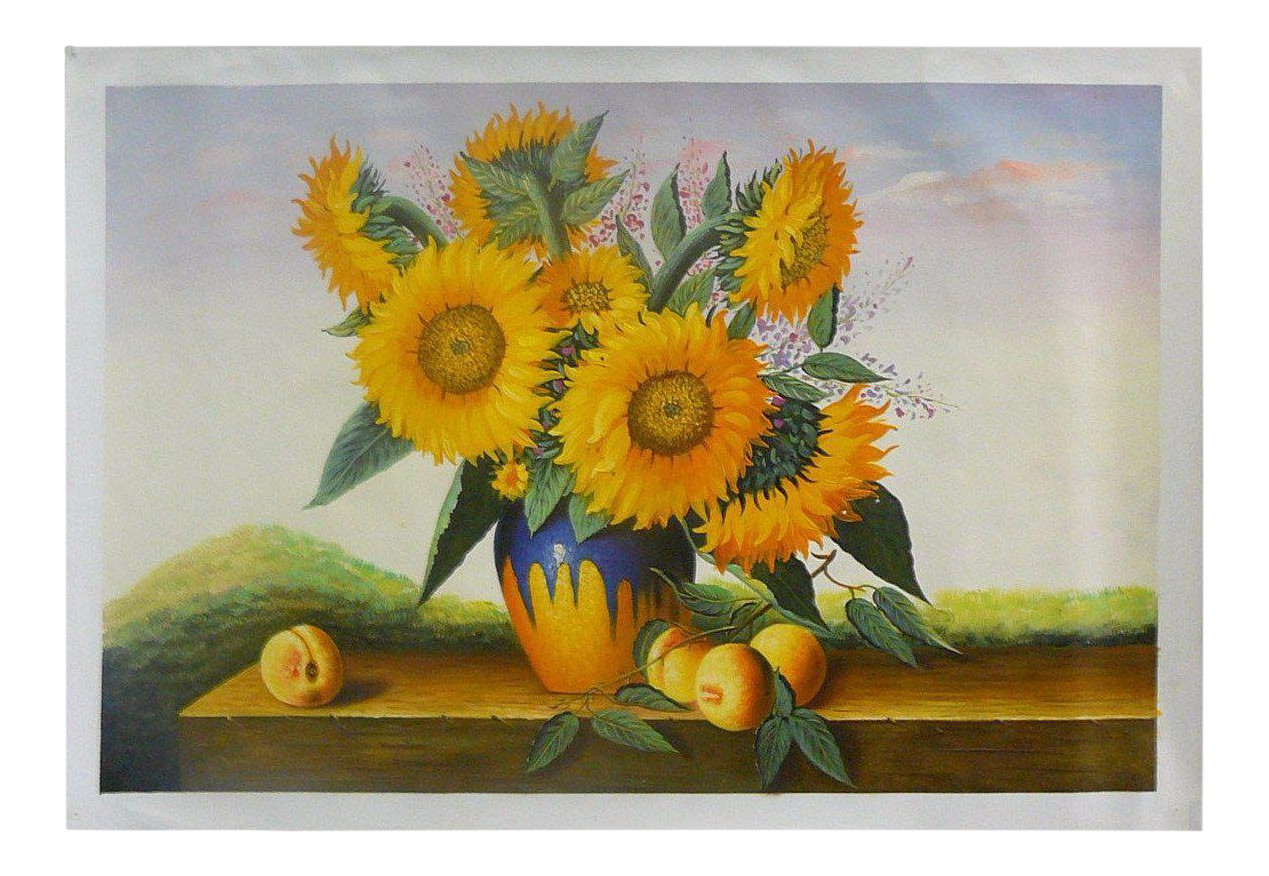 Oil Paint Canvas Art Portrait Beautiful Sunflower Wall Decor | Chairish